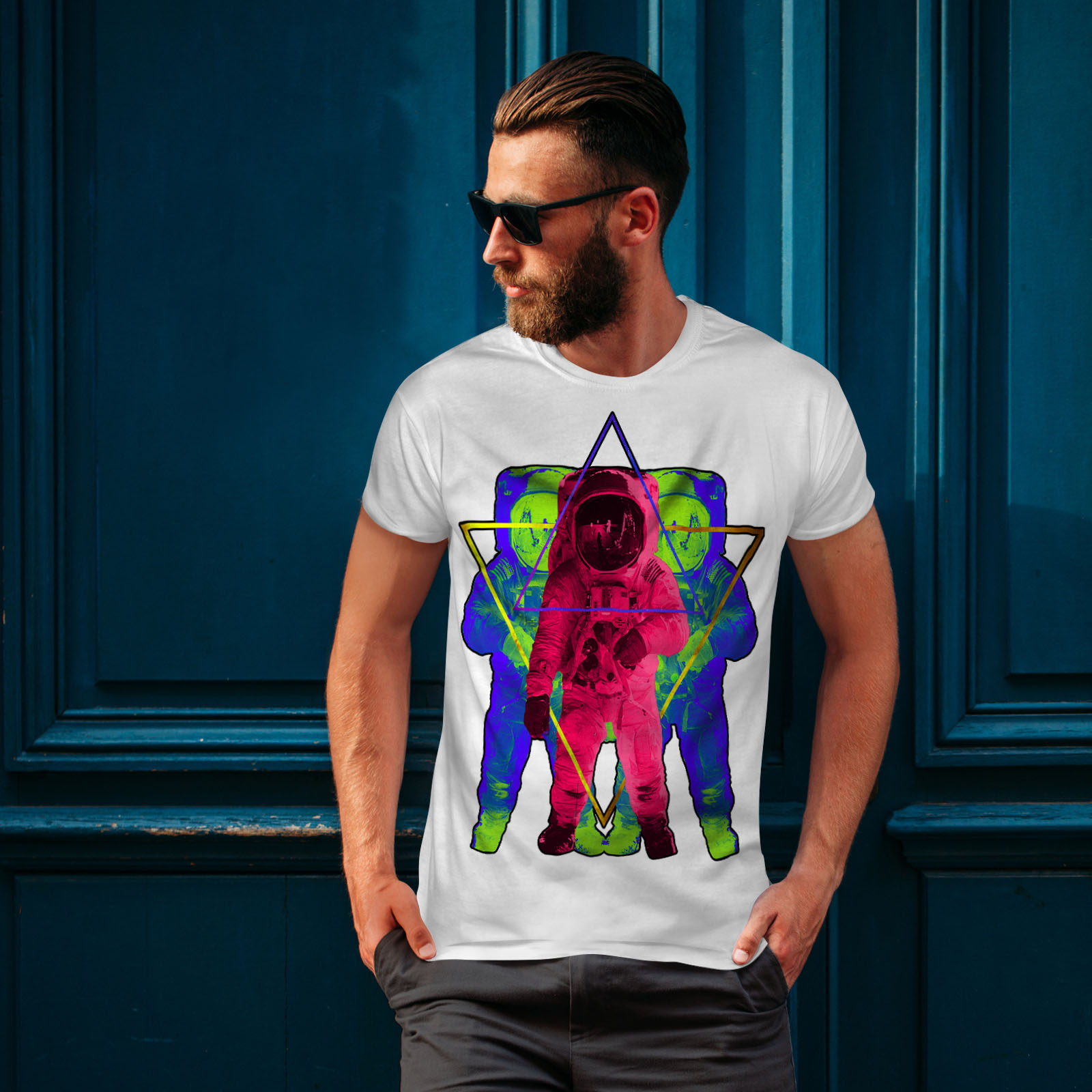 Wellcoda-Psychedelic-Astronaut-Mens-T-shirt-Star-Graphic-Design-Printed-Tee thumbnail 10