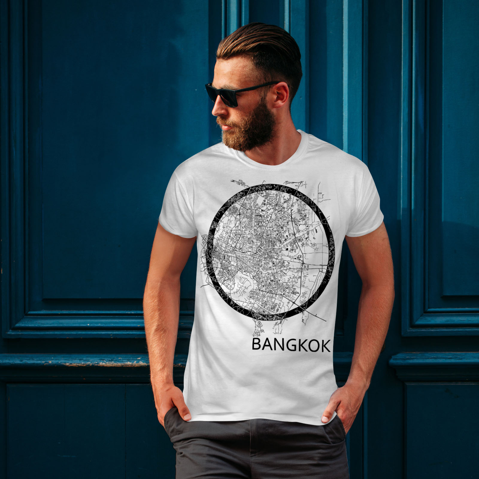 Wellcoda-Thailand-Bangkok-Map-Mens-T-shirt-Big-Graphic-Design-Printed-Tee