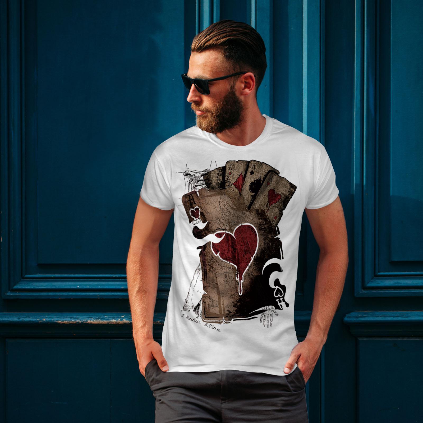 Wellcoda-Poker-Gamble-Squelette-T-shirt-homme-effrayant-conception-graphique-imprime-Tee miniature 10