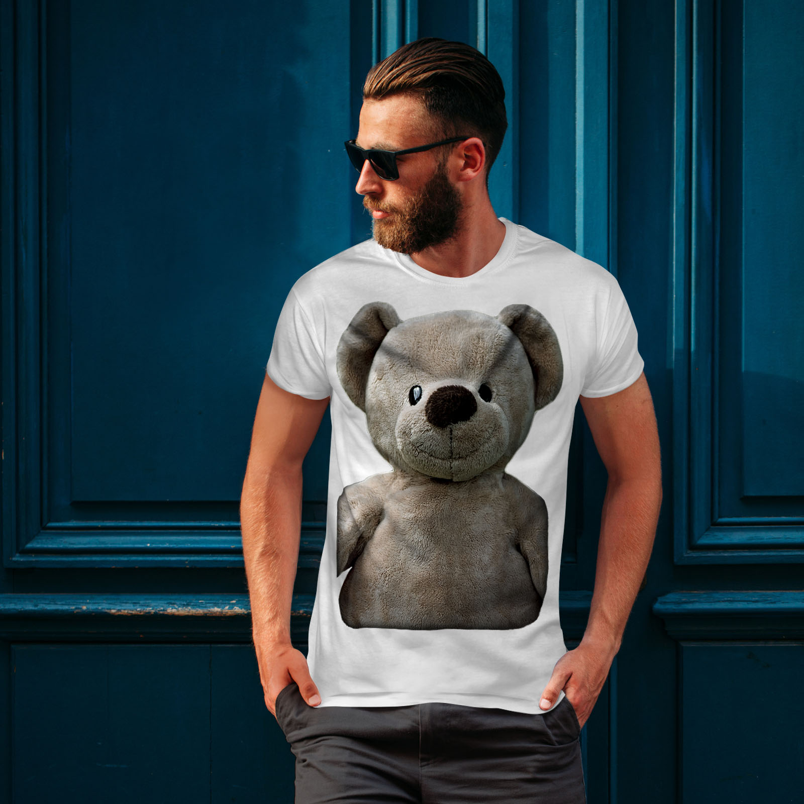 miniature 10 - Wellcoda Cute Plush Mens T-shirt, Teddy Bear Graphic Design Printed Tee