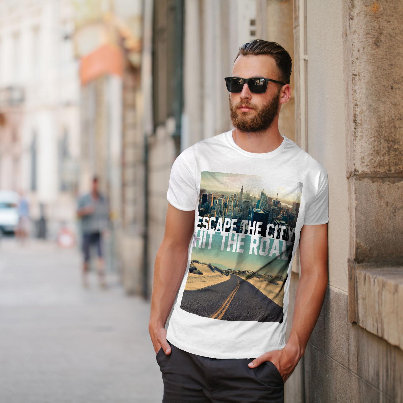 Wellcoda-Escape-The-City-Herren-T-Shirt-Lifestyle-Grafikdesign-Printed-Tee Indexbild 11