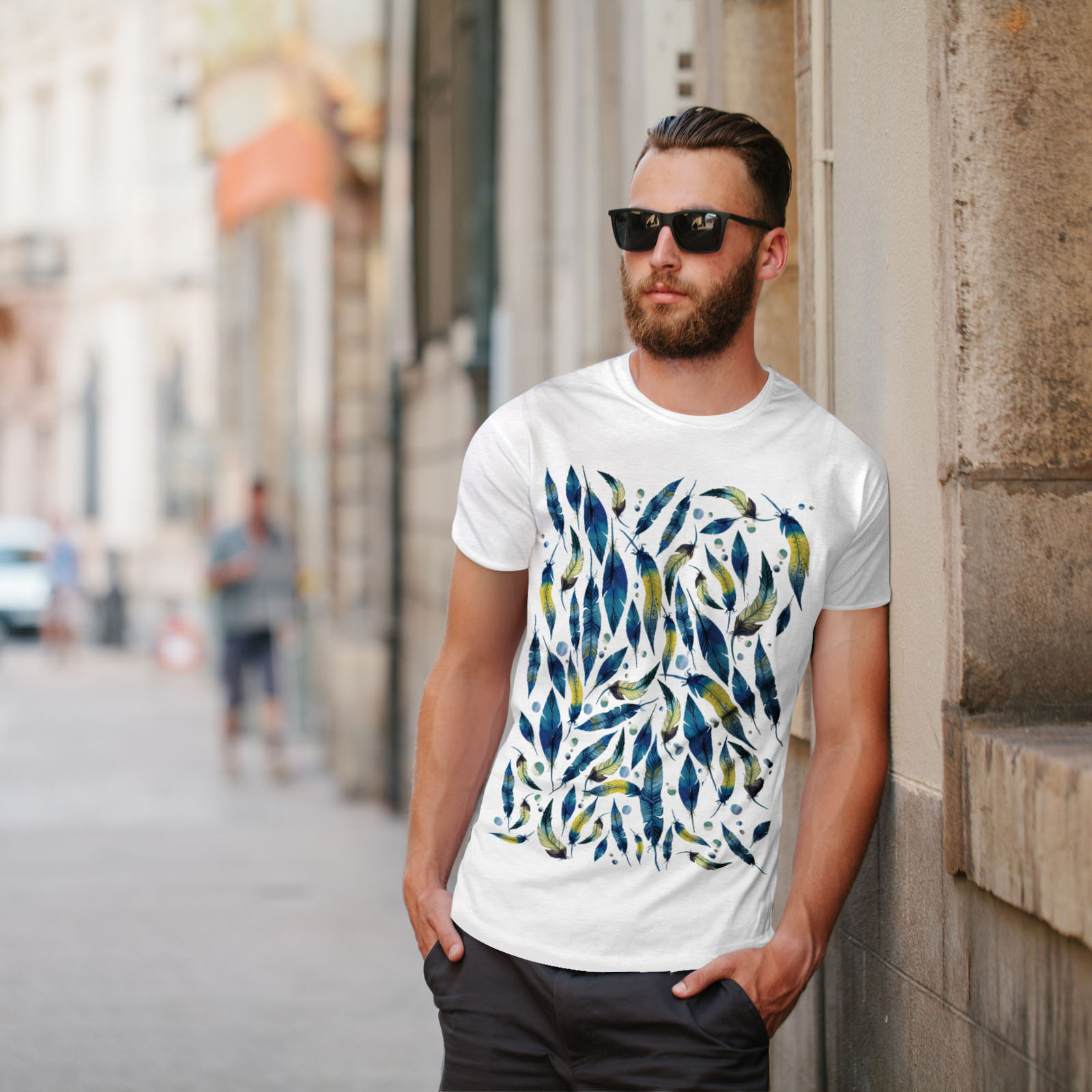 Wellcoda-fashion-Plumes-T-shirt-homme-Abstract-Design-graphique-imprime-Tee miniature 11