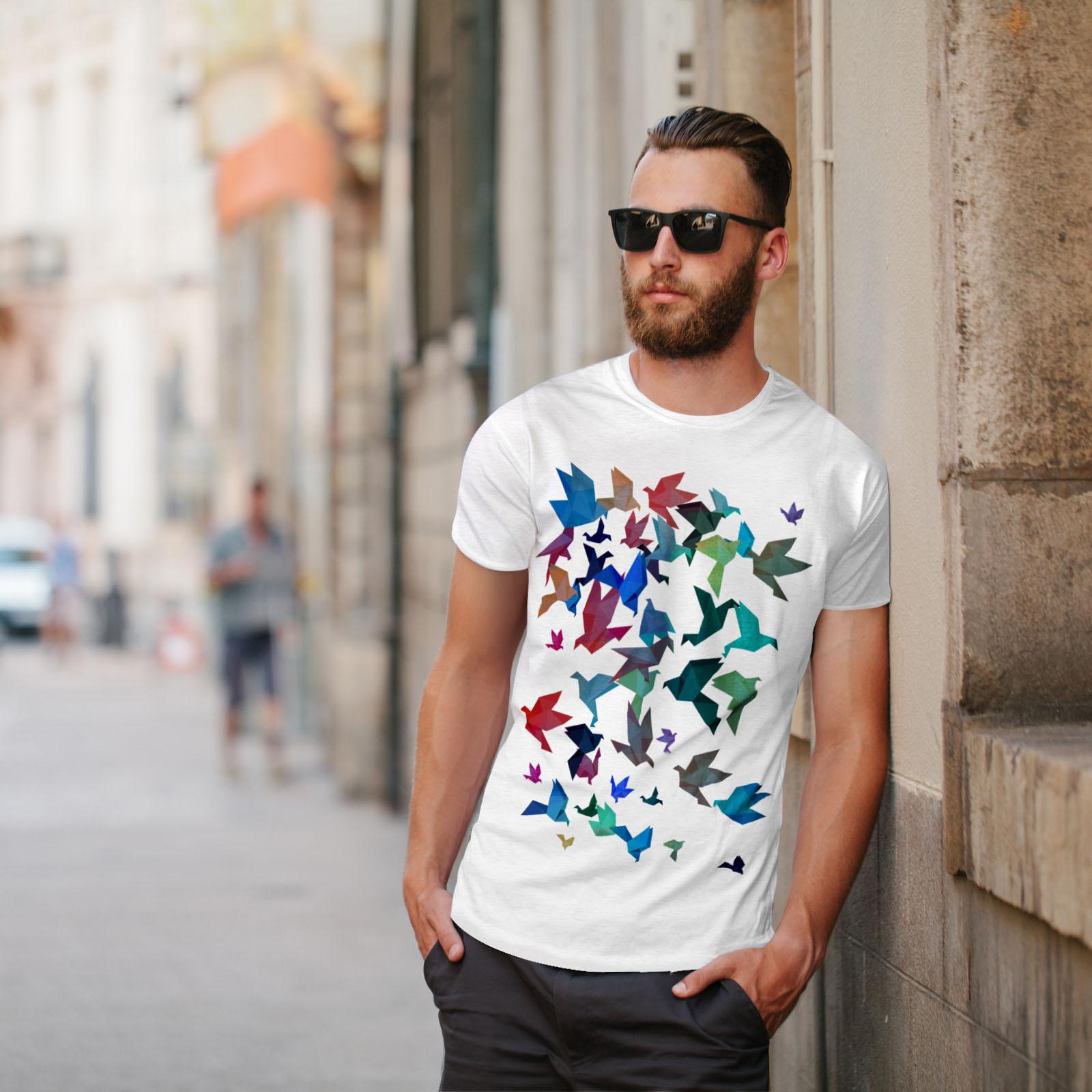 Wellcoda-Origami-Bird-Colors-Mens-T-shirt-Craft-Graphic-Design-Printed-Tee thumbnail 11