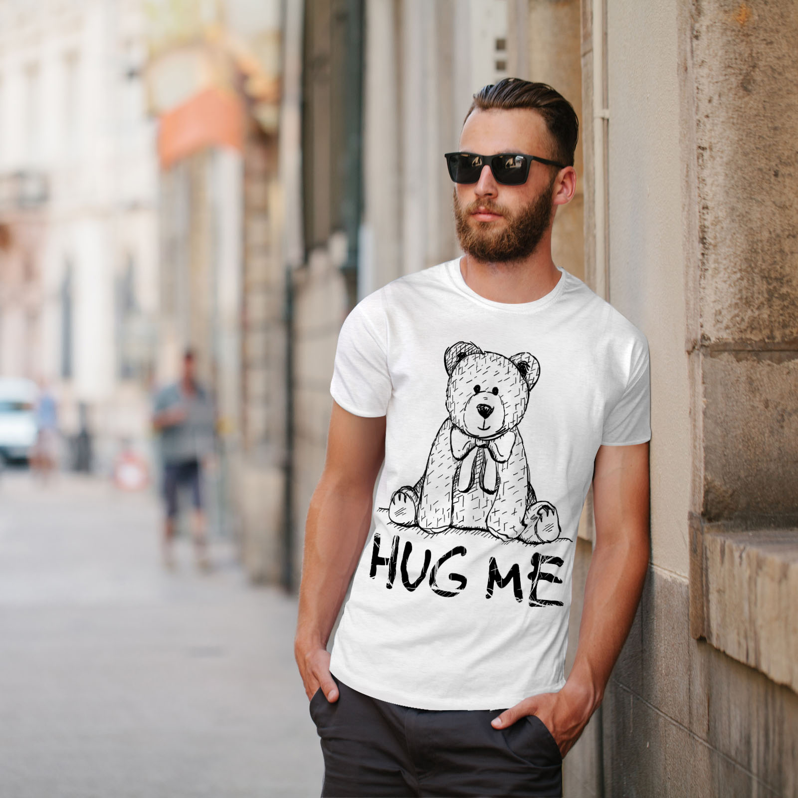 miniature 11 - Wellcoda Hug Me Teddy Bear Mens T-shirt, Nice & Graphic Design Printed Tee