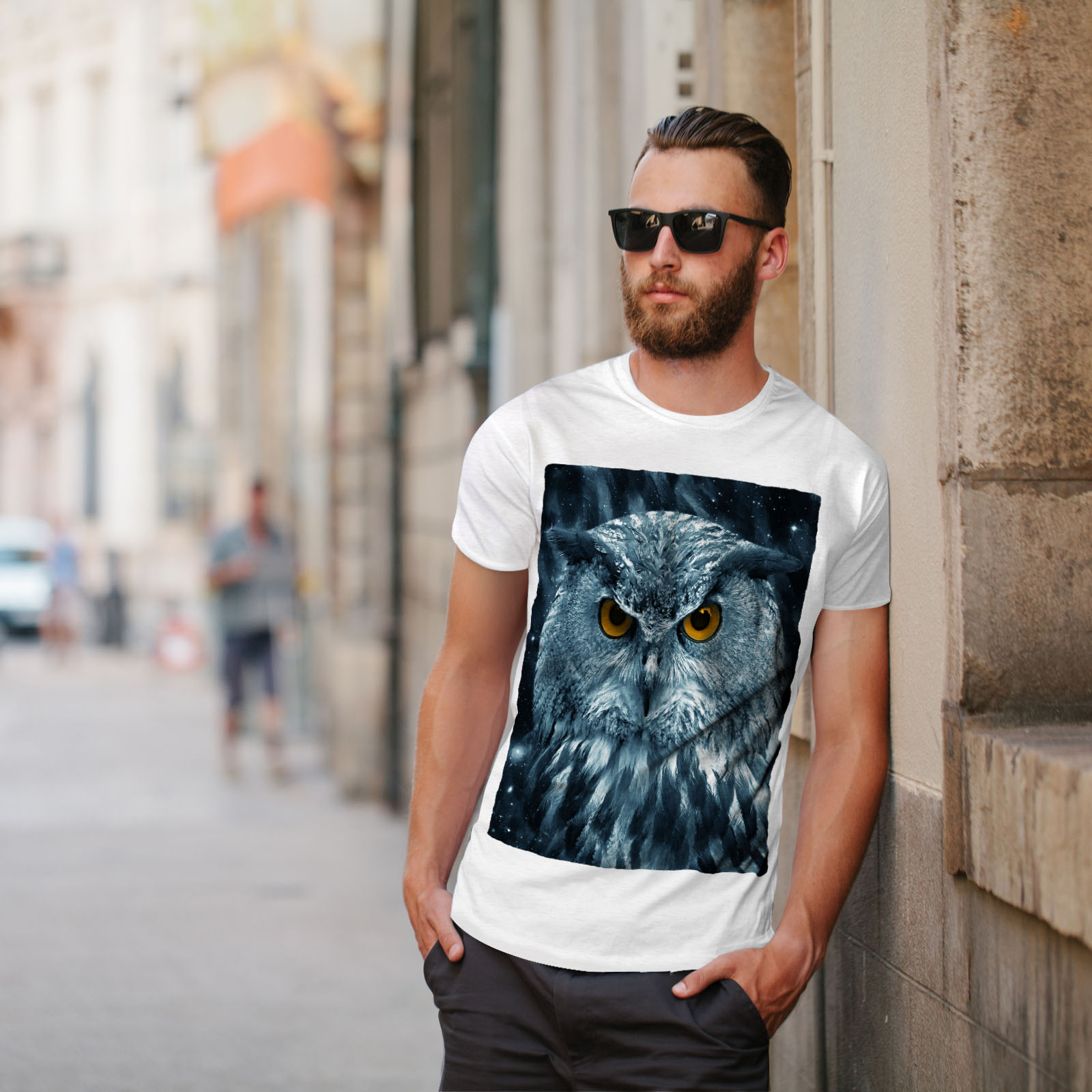 miniature 11 - Wellcoda-Wild-Looking-Owl-Mens-T-shirt-Mother-Graphic-Design-Printed-Tee