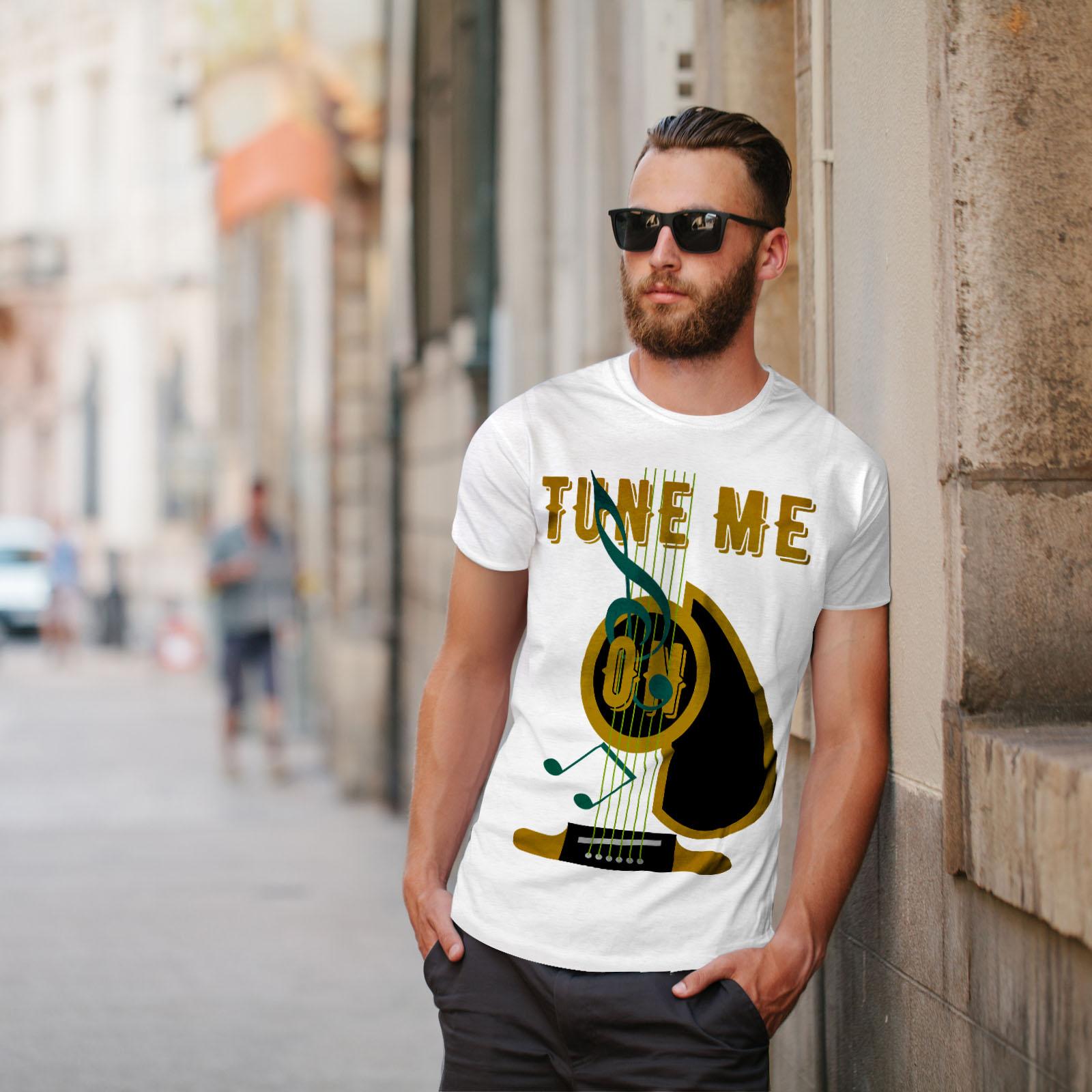 Wellcoda Tune Me On Guitar Mens T-shirt Guitar Graphic Design Printed Tee