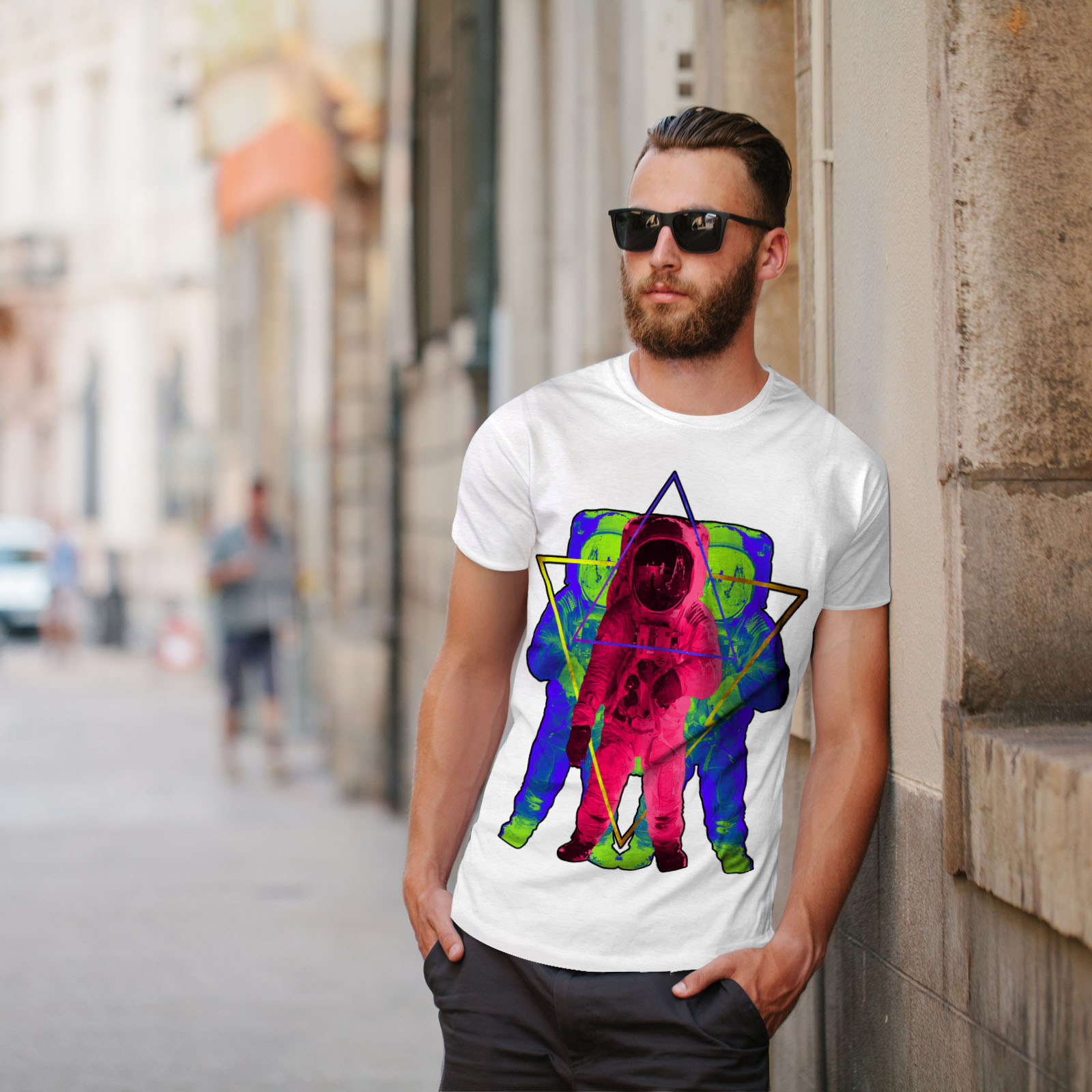 Wellcoda-Psychedelic-Astronaut-Mens-T-shirt-Star-Graphic-Design-Printed-Tee thumbnail 11