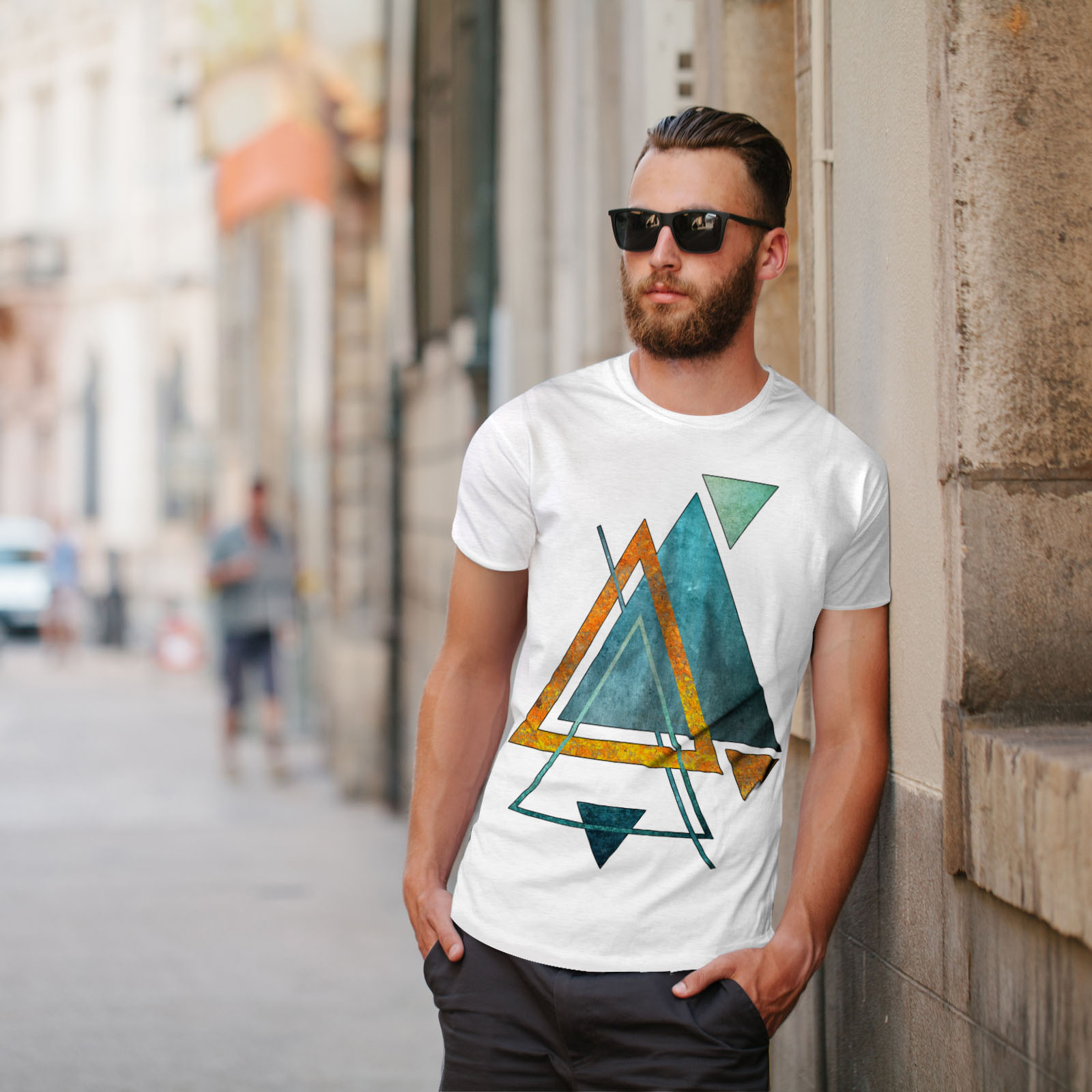Wellcoda-Abstract-Triangle-T-shirt-homme-forme-design-graphique-imprime-Tee miniature 11
