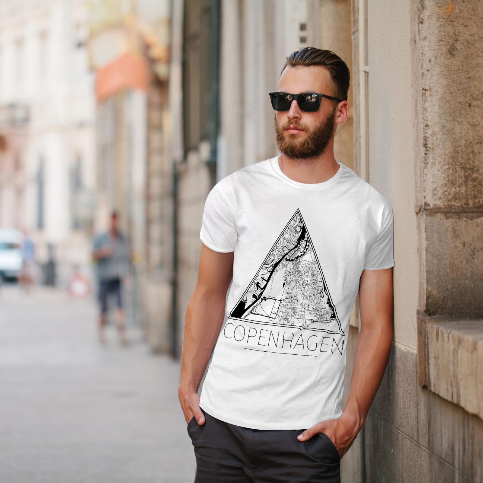 Big Graphic Design Printed Tee Wellcoda Denmark Copenhagen Mens T-shirt