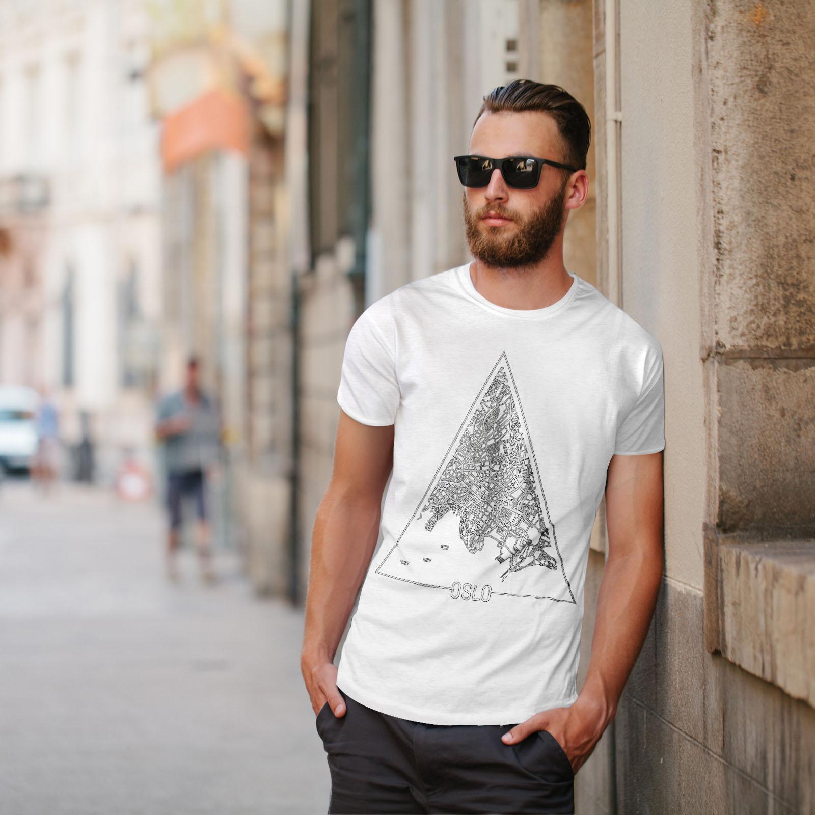 Wellcoda-Norvegia-Big-City-Oslo-da-uomo-T-shirt-Citta-design-grafico-stampato-T-shirt miniatura 11