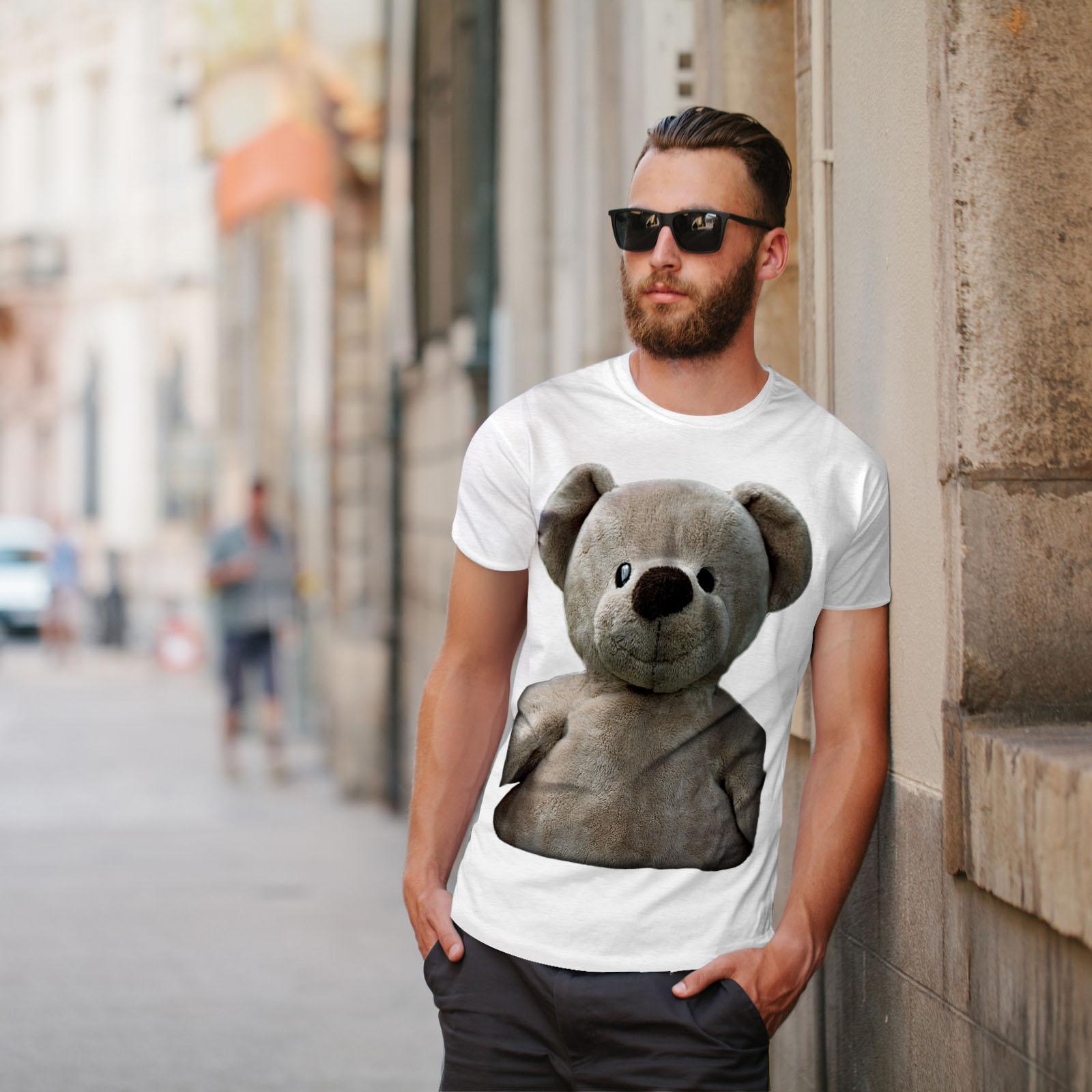 miniature 11 - Wellcoda Cute Plush Mens T-shirt, Teddy Bear Graphic Design Printed Tee