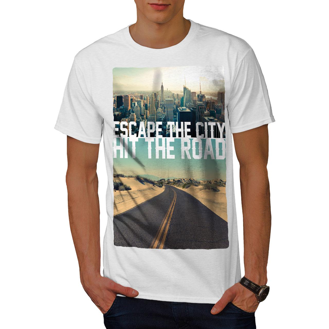 Wellcoda-Escape-The-City-Herren-T-Shirt-Lifestyle-Grafikdesign-Printed-Tee Indexbild 9