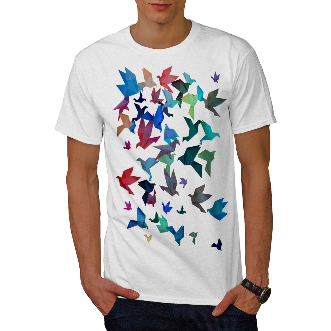 Wellcoda-Origami-Bird-Colors-Mens-T-shirt-Craft-Graphic-Design-Printed-Tee thumbnail 9
