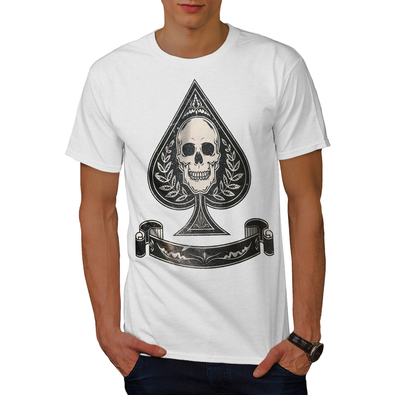 Card Graphic Design Printed Tee Wellcoda Spades Skull Card Gamble Mens T-shirt