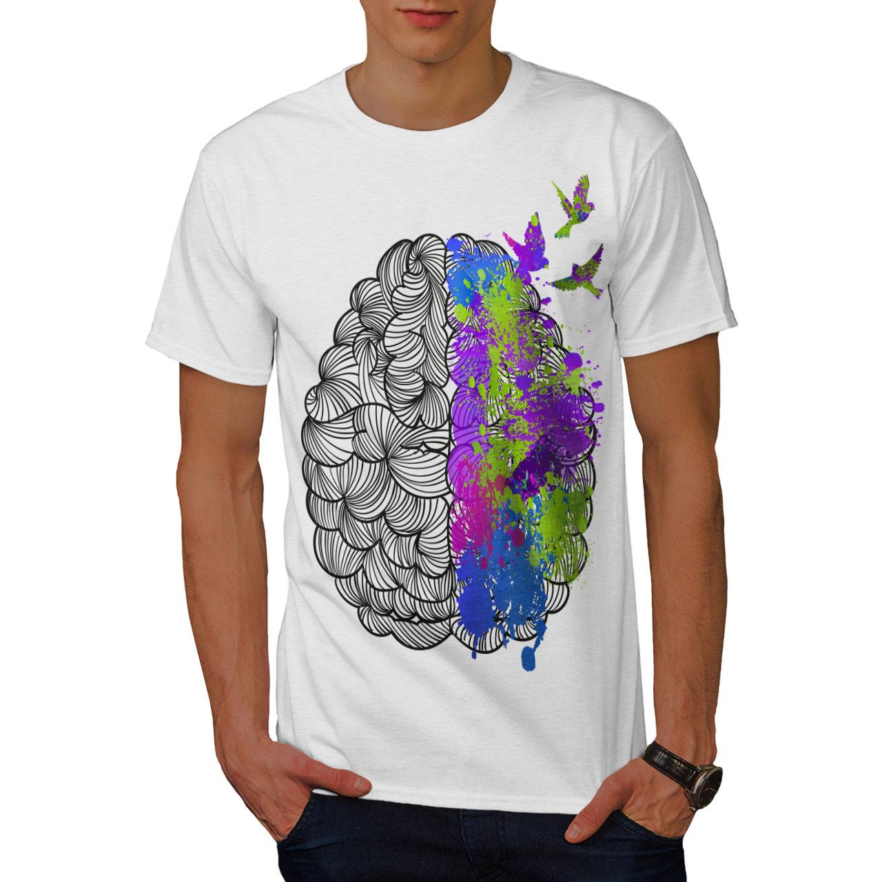 Wellcoda Colorful Brain Art Mens T Shirt Anatomy Graphic Design