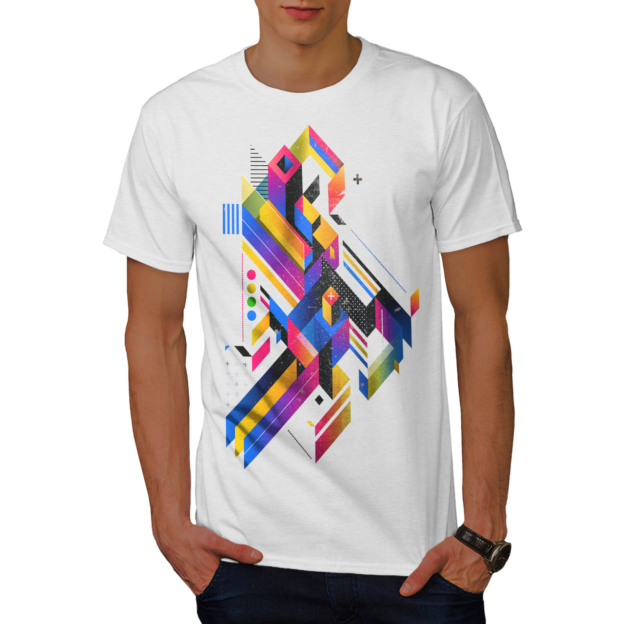 Wellcoda-Abstract-Maze-T-shirt-homme-Labyrinthe-conception-graphique-imprime-Tee miniature 9
