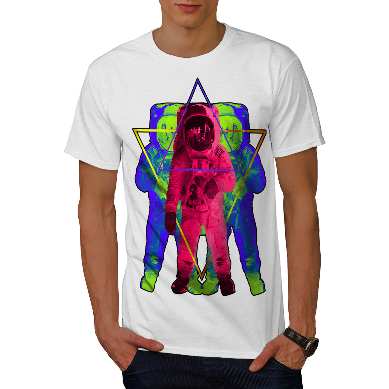 Wellcoda-Psychedelic-Astronaut-Mens-T-shirt-Star-Graphic-Design-Printed-Tee thumbnail 9