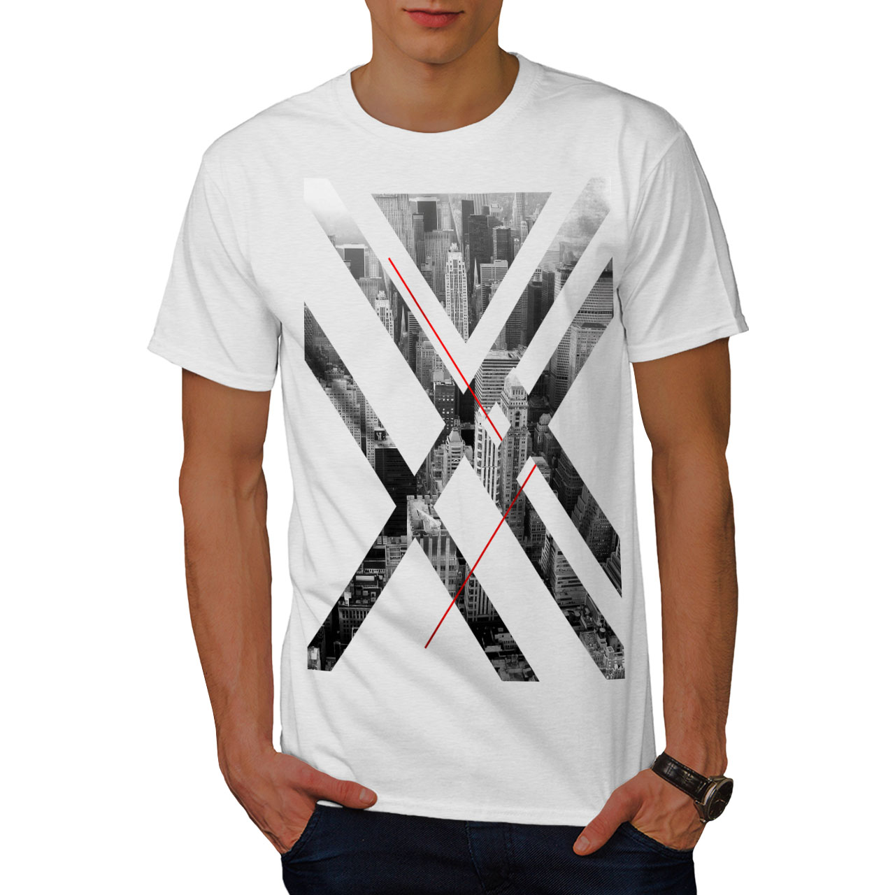 Details About Wellcoda City Usa Abstract Mens T Shirt Urban Graphic Design Printed Tee