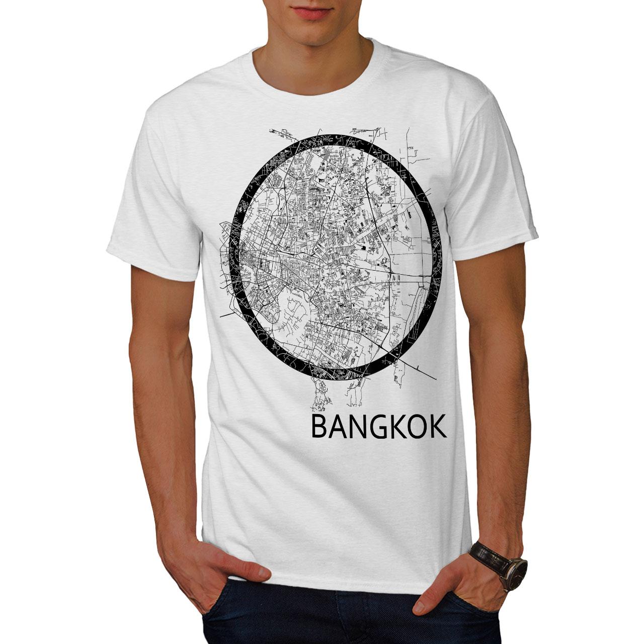 Wellcoda-Thailandia-Bangkok-Mappa-Da-Uomo-T-shirt-grande-motivo-grafico-stampato-T-shirt