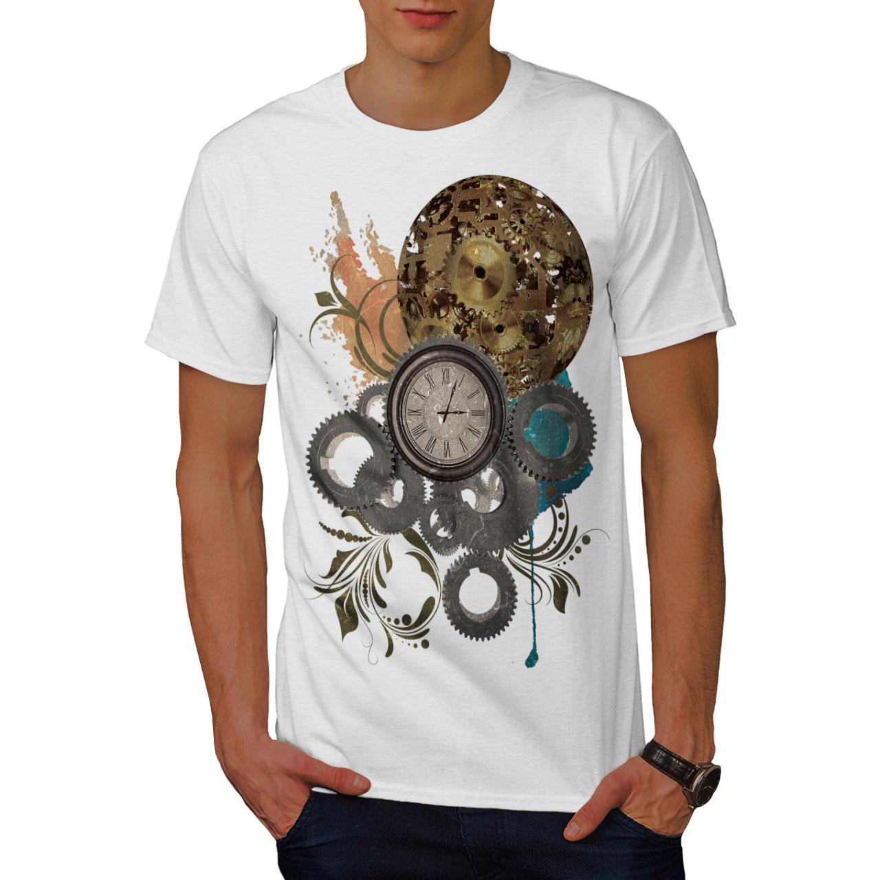 Wellcoda-Clock-Cool-Print-Mens-T-shirt-Illusion-Graphic-Design-Printed-Tee