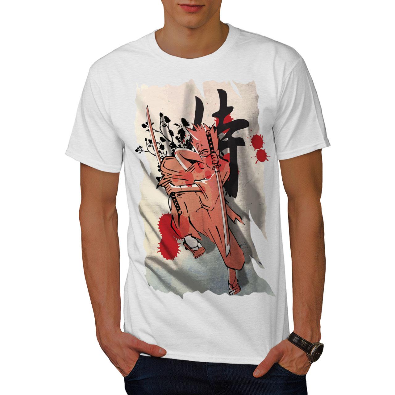 ANIME design grafico stampato T-shirt Wellcoda Fantasy Giappone Samurai Da Uomo T-shirt