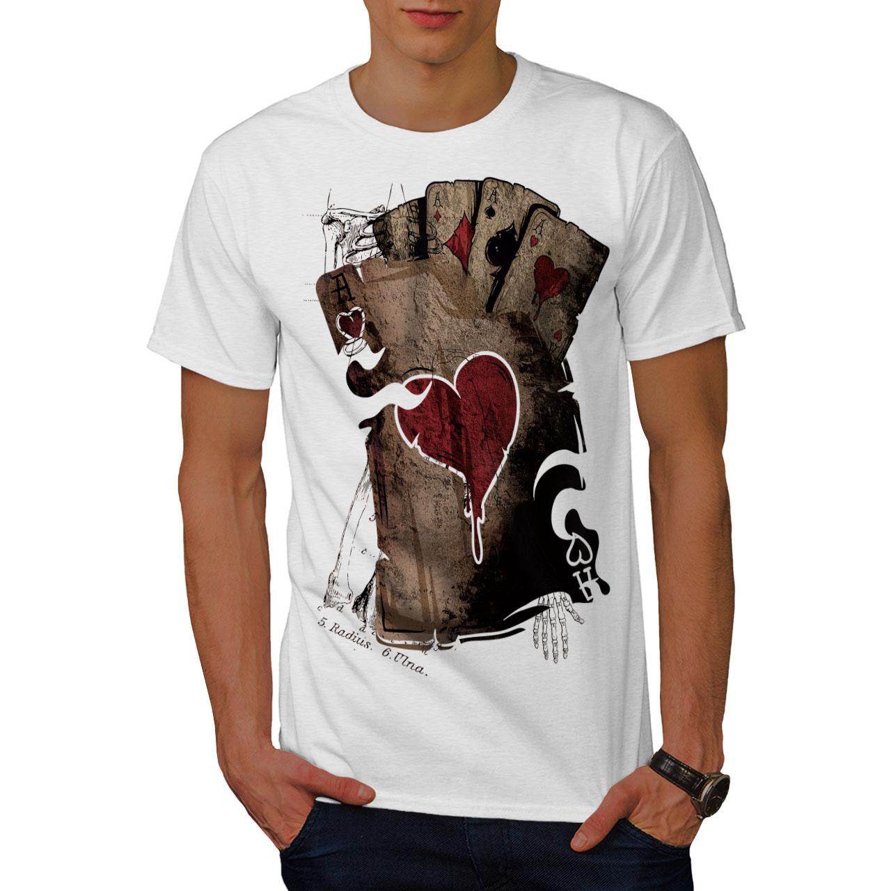 Wellcoda-Poker-Gamble-Squelette-T-shirt-homme-effrayant-conception-graphique-imprime-Tee miniature 9