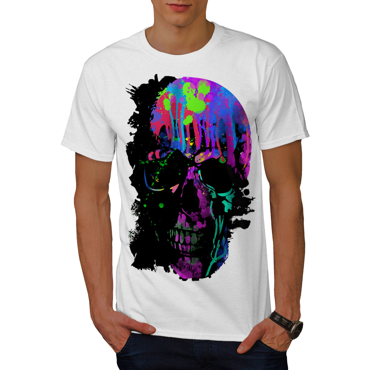 Buono Wellcoda Teschio Artistico Da Uomo T-shirt, Neon Notte Design Grafico Stampato T-shirt- Ufficiale 2019
