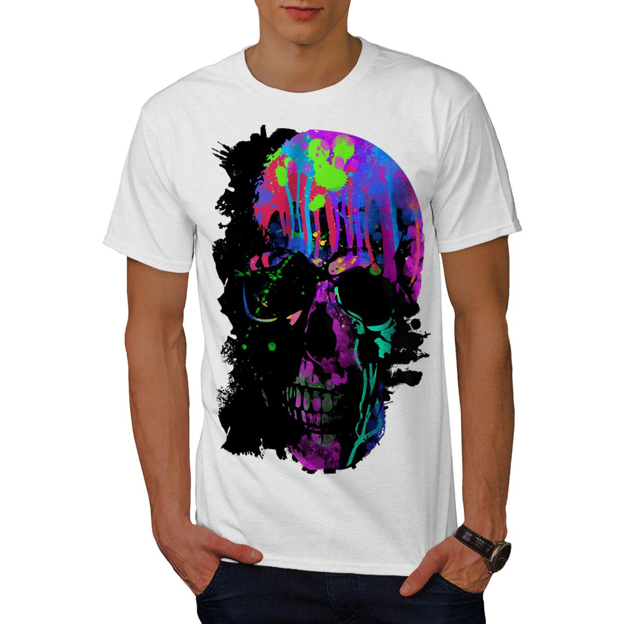 Wellcoda-Skull-Artsy-Mens-T-shirt-Neon-Night-Graphic-Design-Printed-Tee thumbnail 9