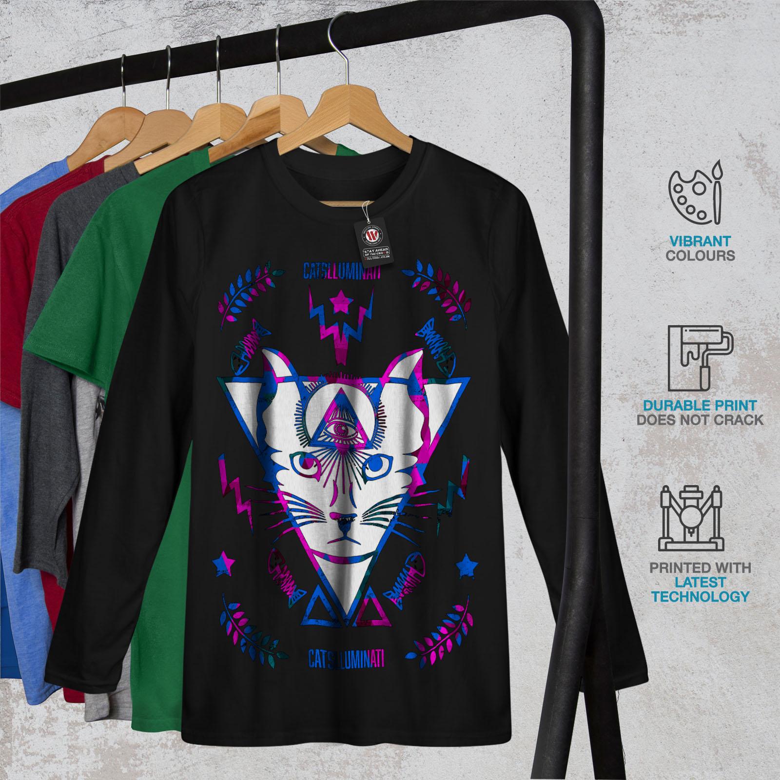 Whisker Graphic Design Printed Tee Wellcoda Cat Triangle Magic Mens T-shirt