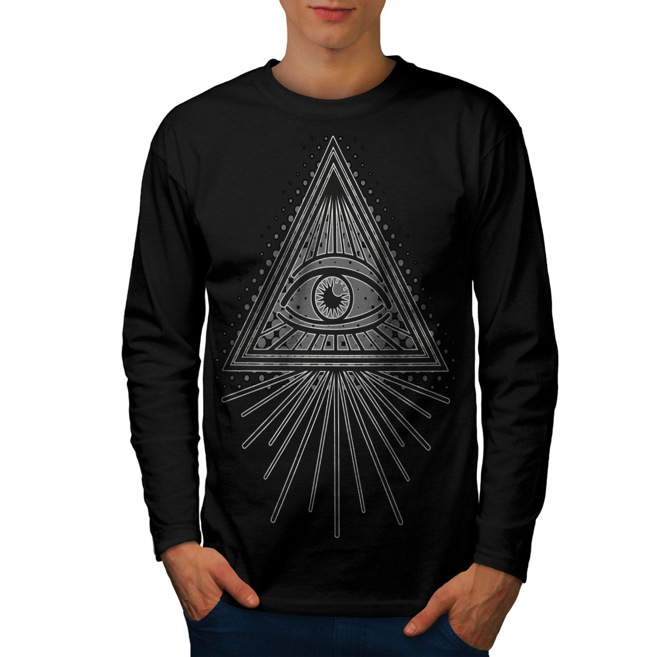 Hand Palm Graphic Design Wellcoda Triangle Eye Key Mens Long Sleeve T-shirt