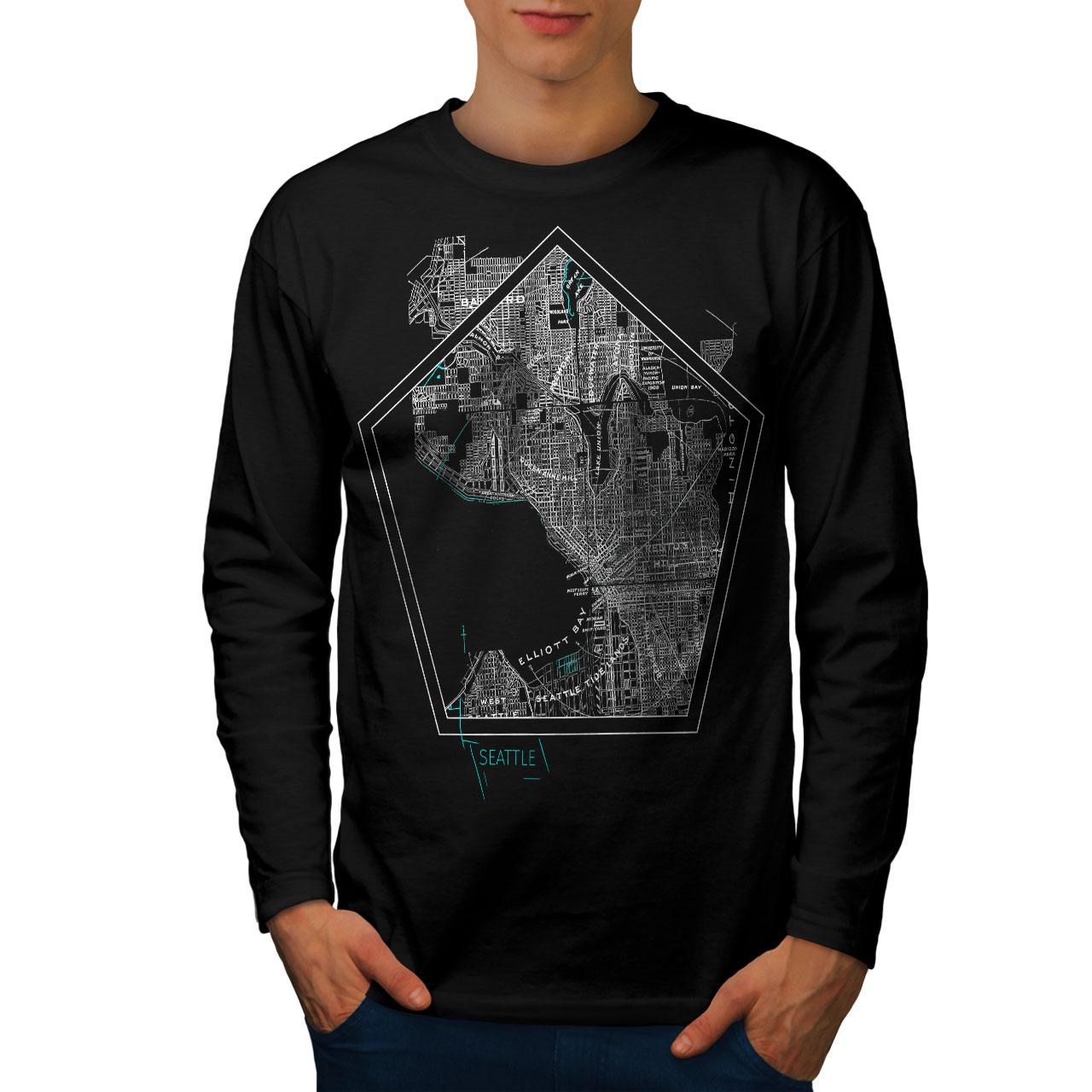 Town Casual Design Wellcoda America City Seattle Womens Long Sleeve T-shirt