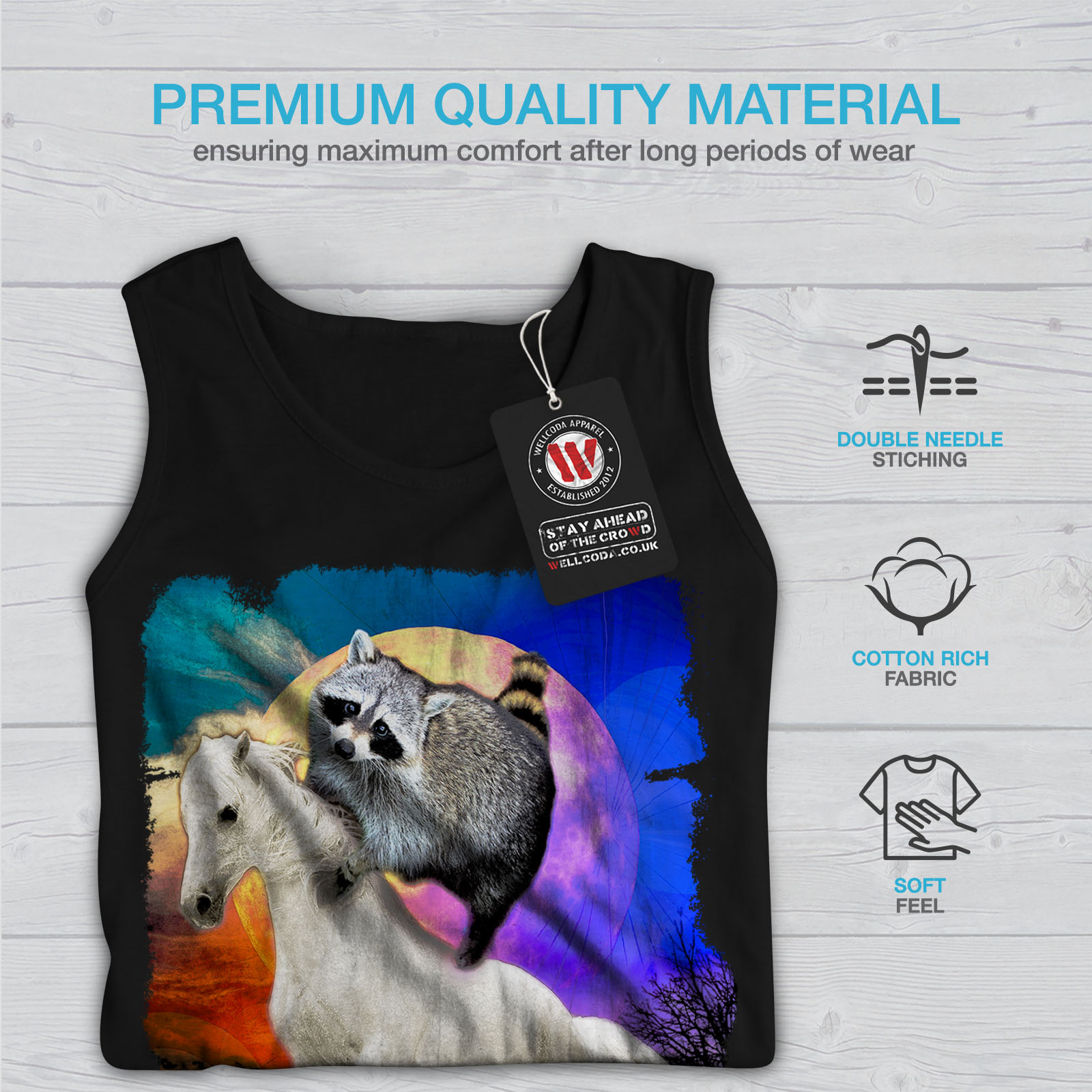 Wellcoda Horse Racoon Space Mens Tank Top Cool Active Sports Shirt