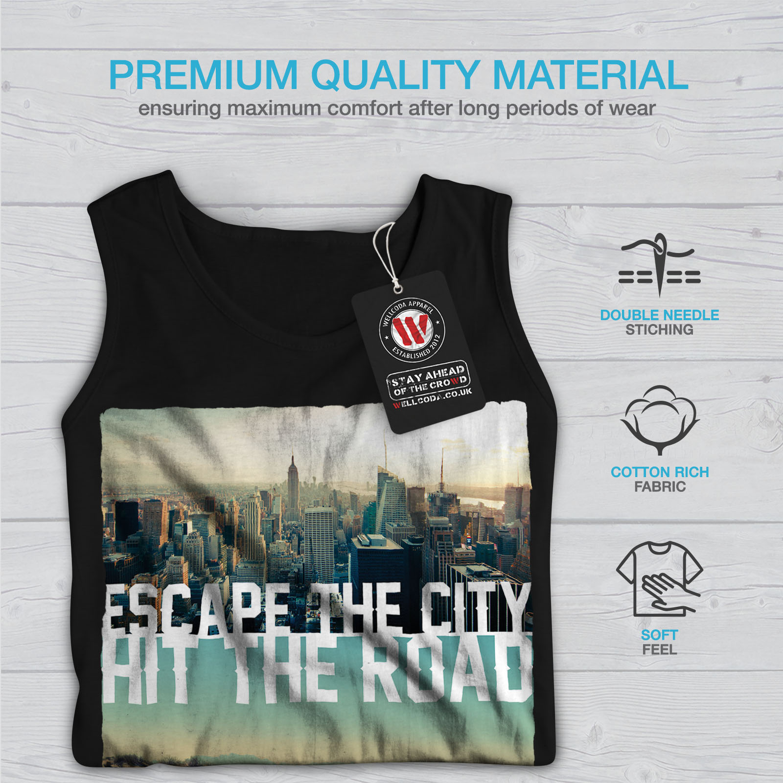 Wellcoda-Escape-The-City-Herren-Tank-Top-Lifestyle-Active-Sportshirt Indexbild 5