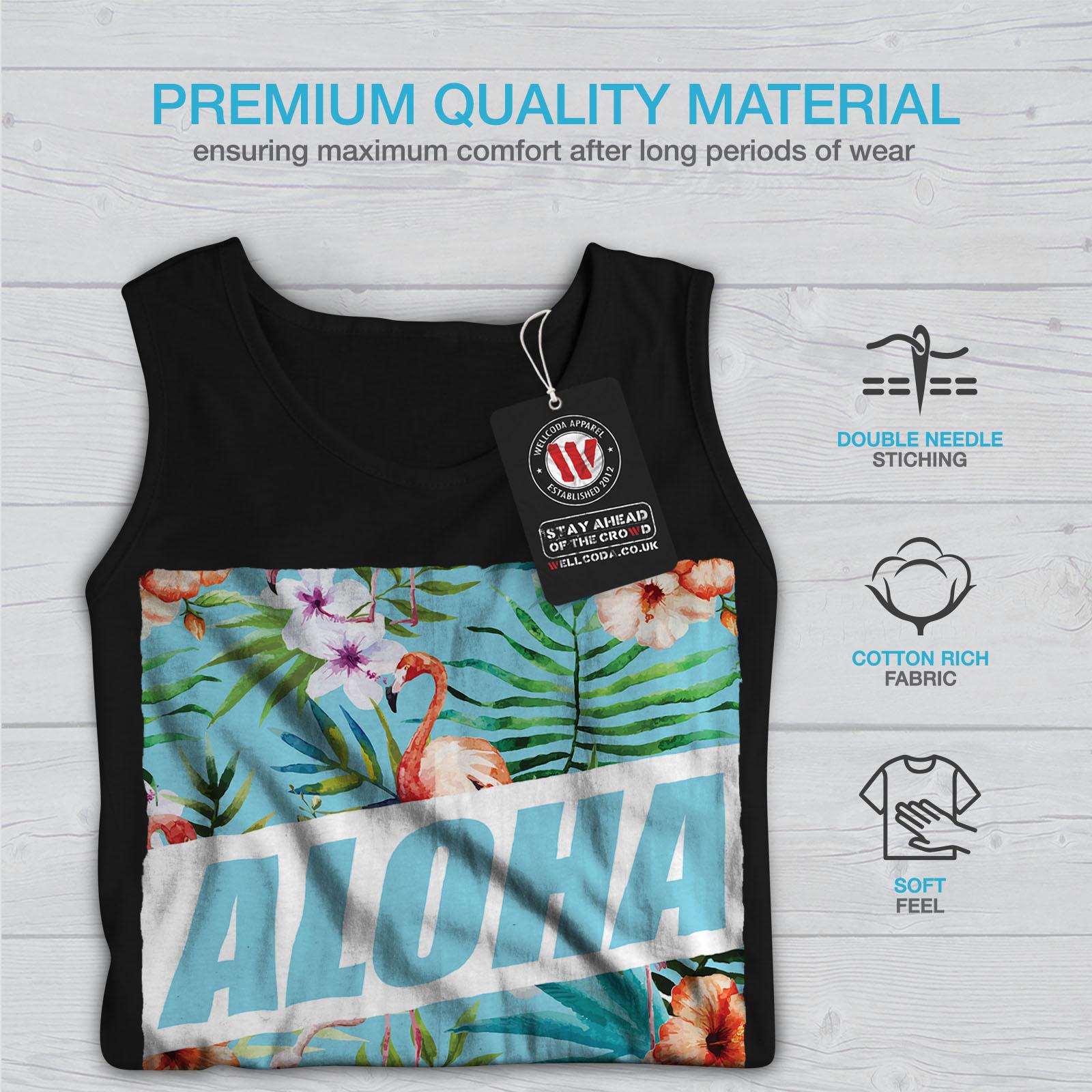 Flamingo Active Sports Shirt Wellcoda Aloha Holiday Mens Tank Top