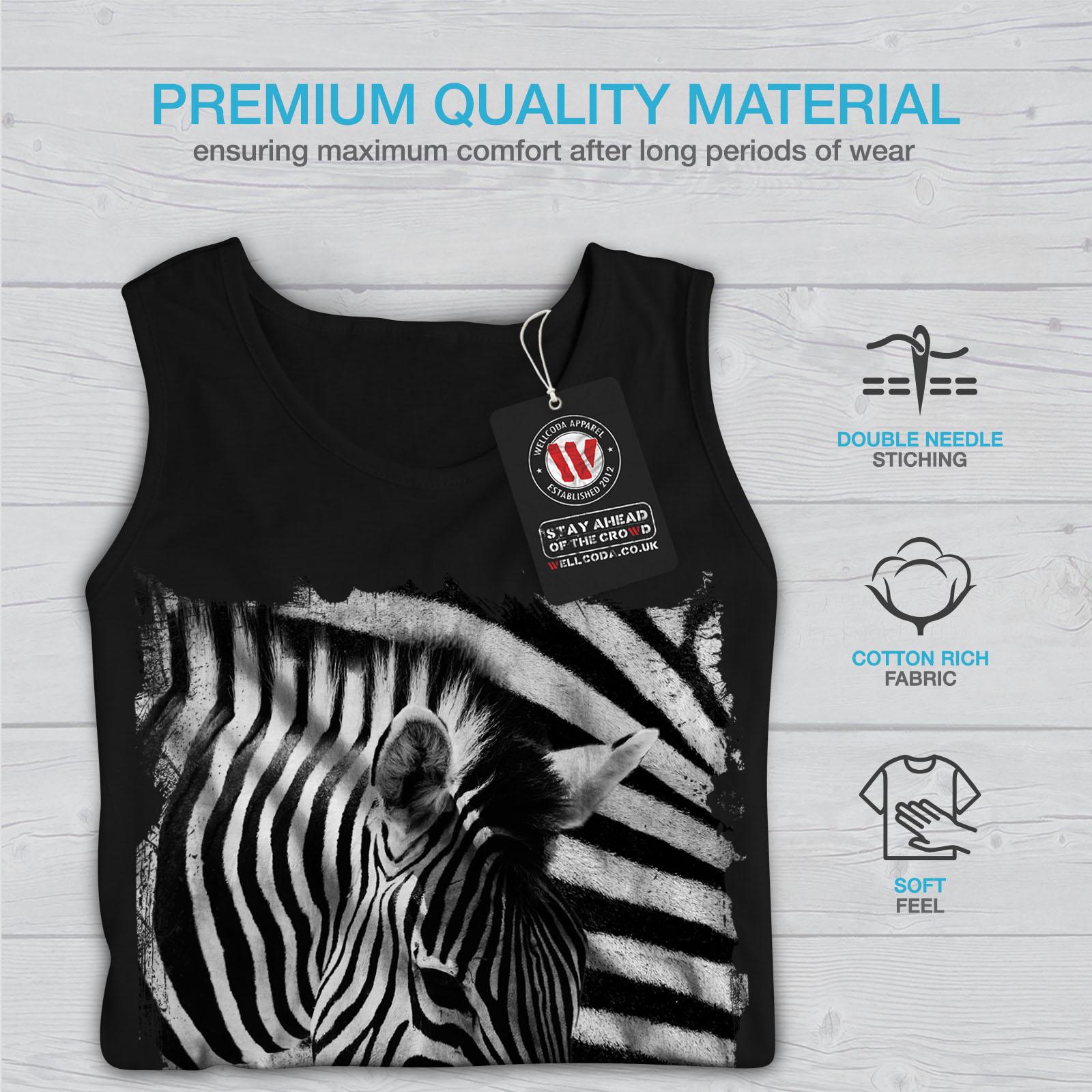 Camicia a righe SPORTIVO Wellcoda Safari Testa Zebra Canotta Da Uomo