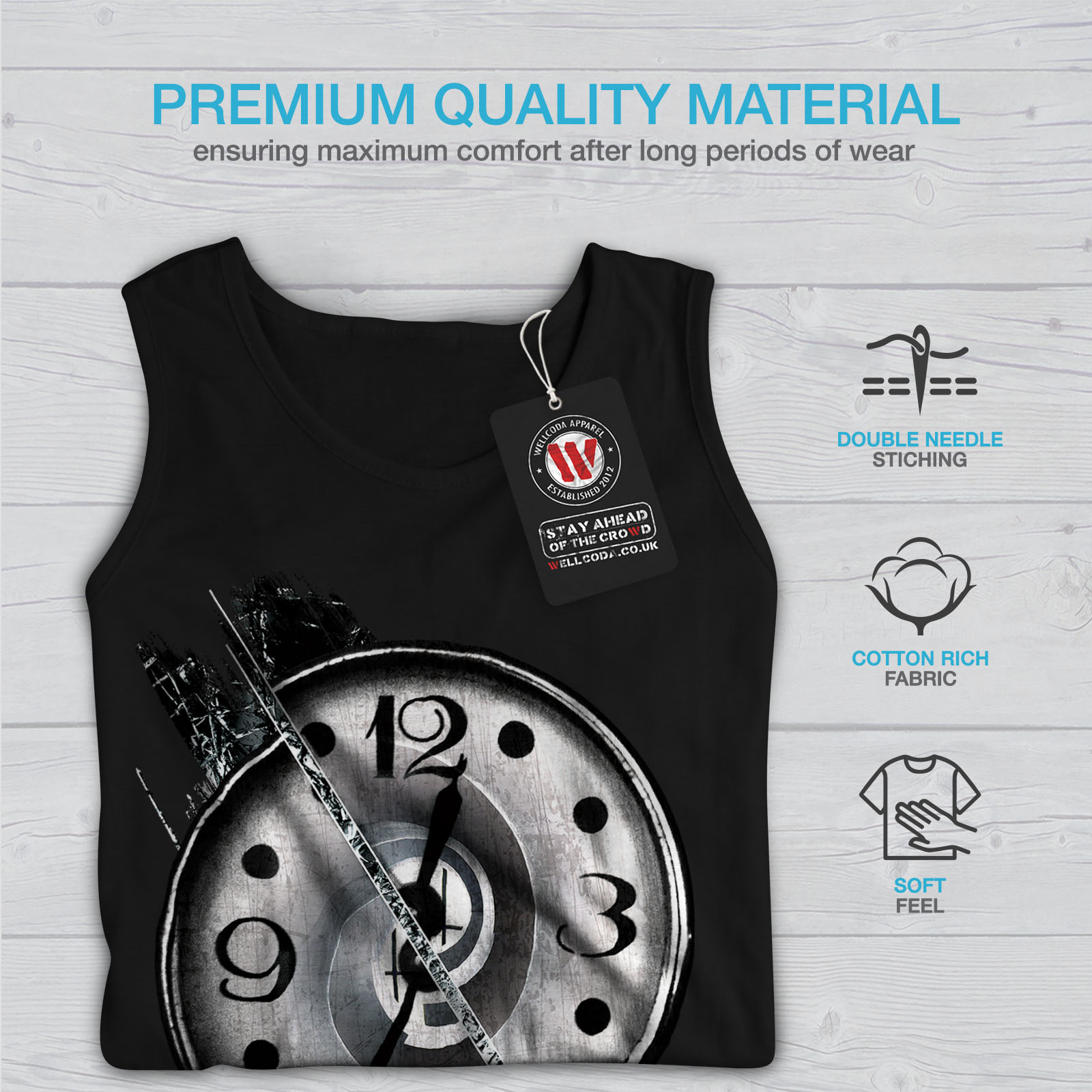 Wellcoda-Clock-Stylish-Art-Mens-Tank-Top-Split-Active-Sports-Shirt thumbnail 5