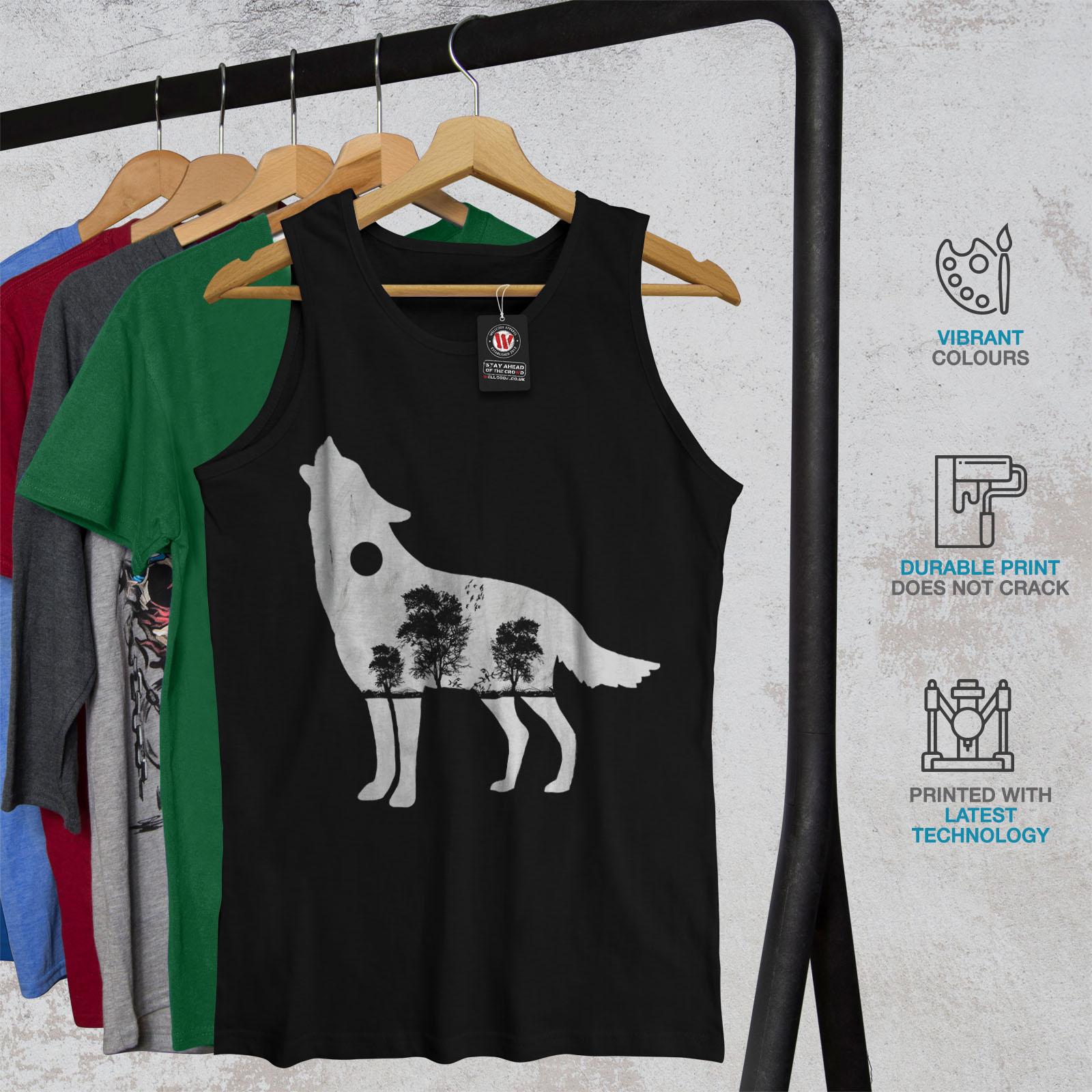Wellcoda-Wolf-Wald-Tier-Herren-Tank-Top-Baum-Active-Sportshirt Indexbild 4