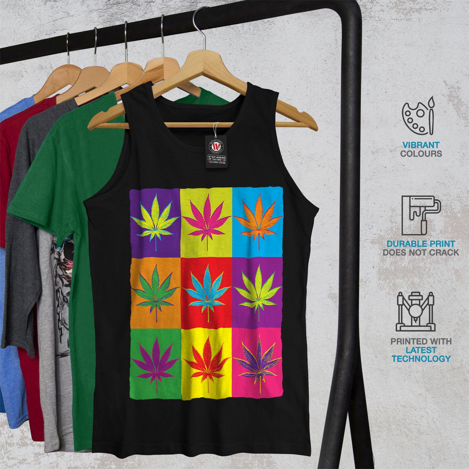 Weed Active Sports Shirt Wellcoda White Cannabis Leaf Mens Tank Top