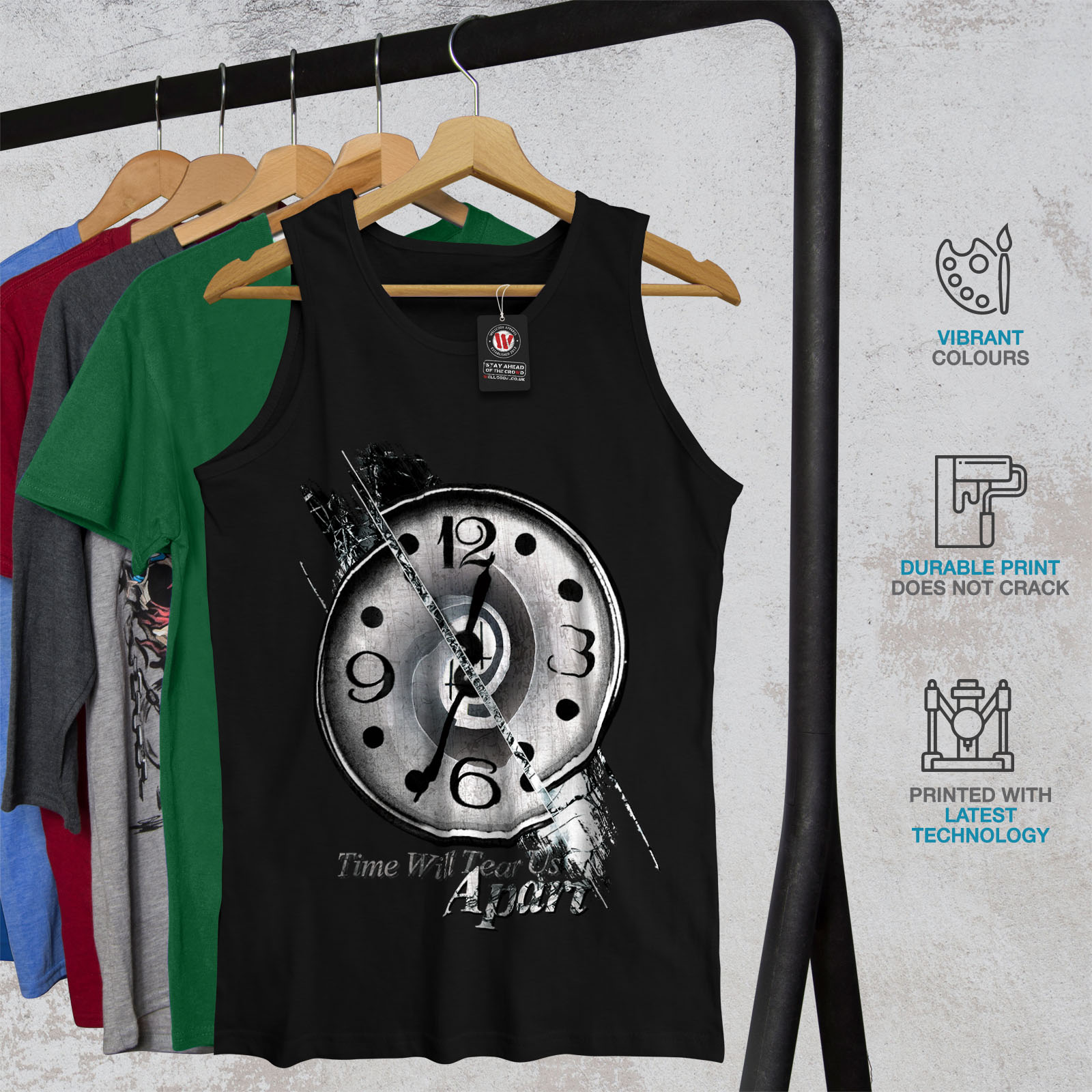Wellcoda-Clock-Stylish-Art-Mens-Tank-Top-Split-Active-Sports-Shirt thumbnail 4