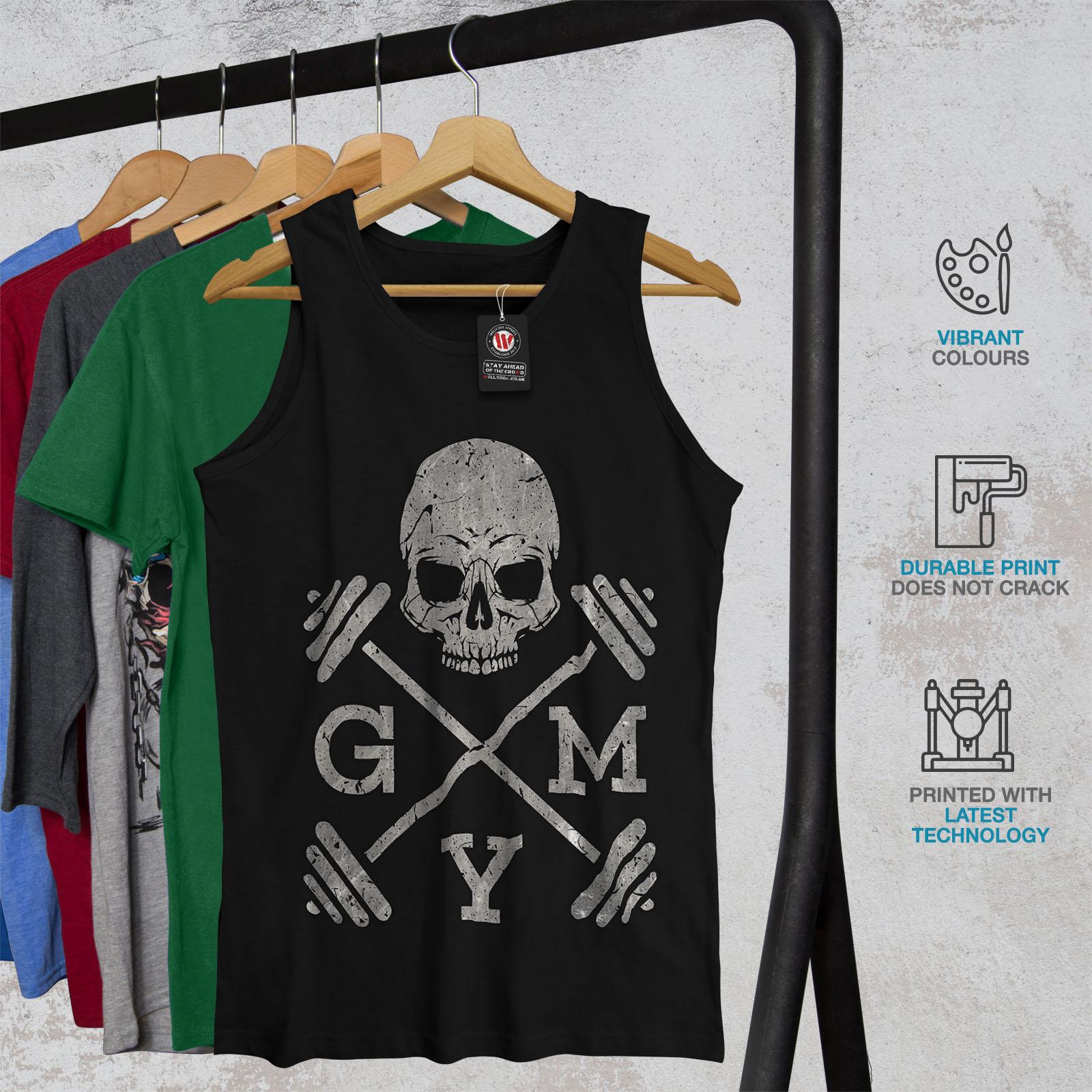 Work Active Sports Shirt Wellcoda Skull Gym Fitness Sport Mens Tank Top