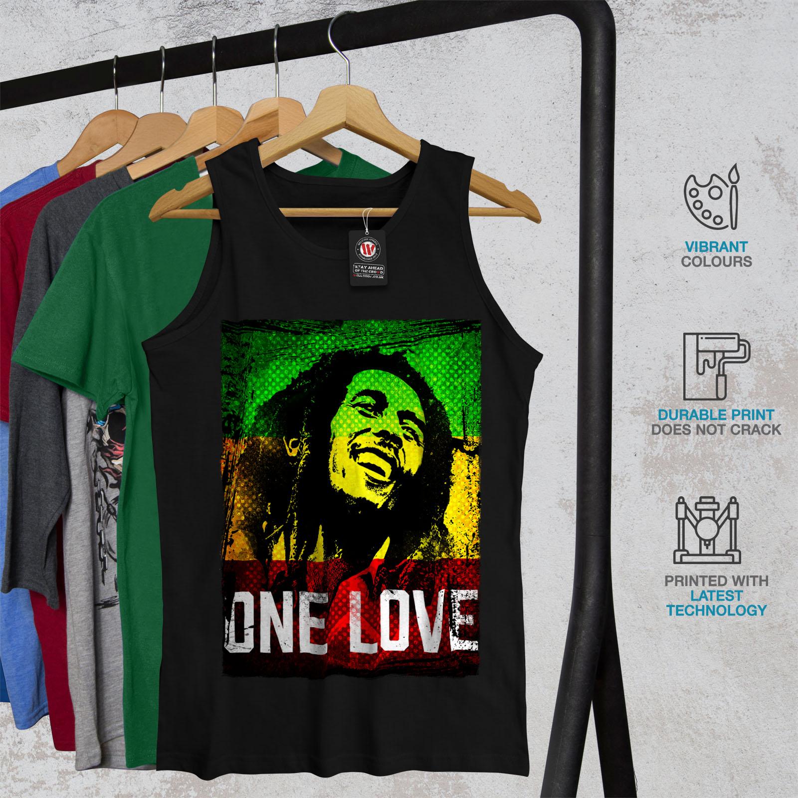 Wellcoda 420 One Love Pot Homme Tank Top rastafarienne Active Sports Shirt