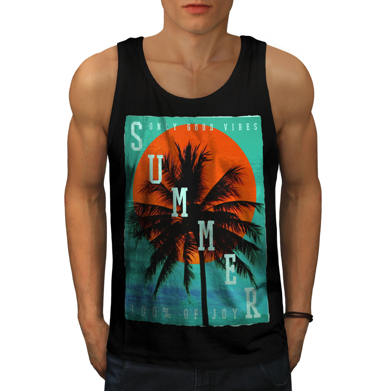 Palm Active Sports Shirt Wellcoda Tropical Summer Heat Mens Tank Top
