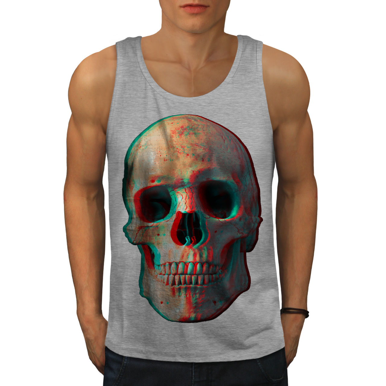 3D Human Skeleton Skull Men Tank Top NEW | Wellcoda | eBay