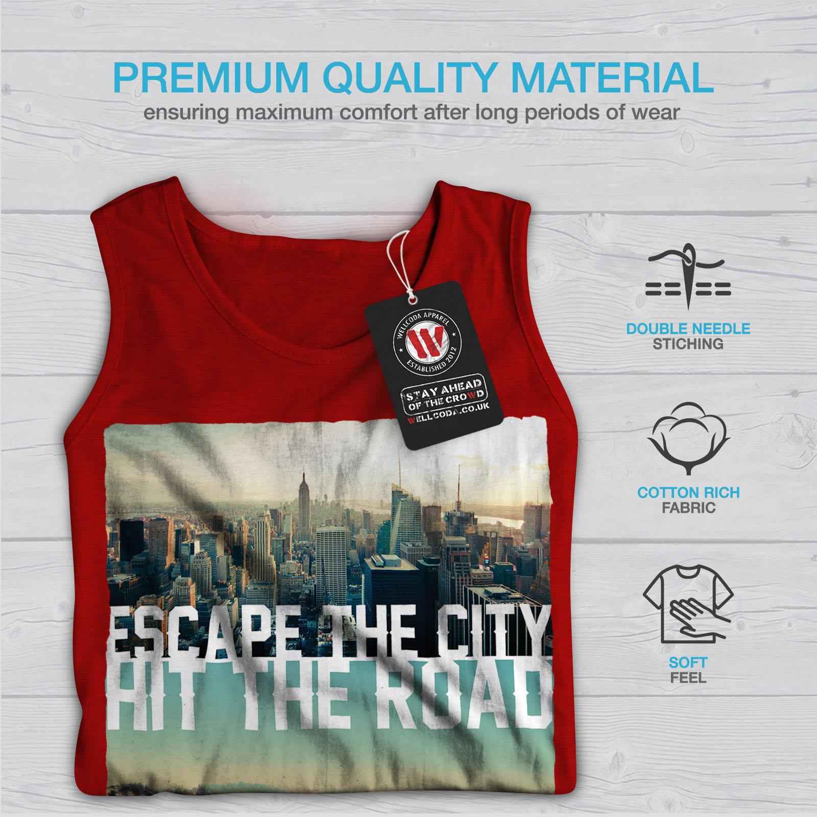 Wellcoda-Escape-The-City-Herren-Tank-Top-Lifestyle-Active-Sportshirt Indexbild 9