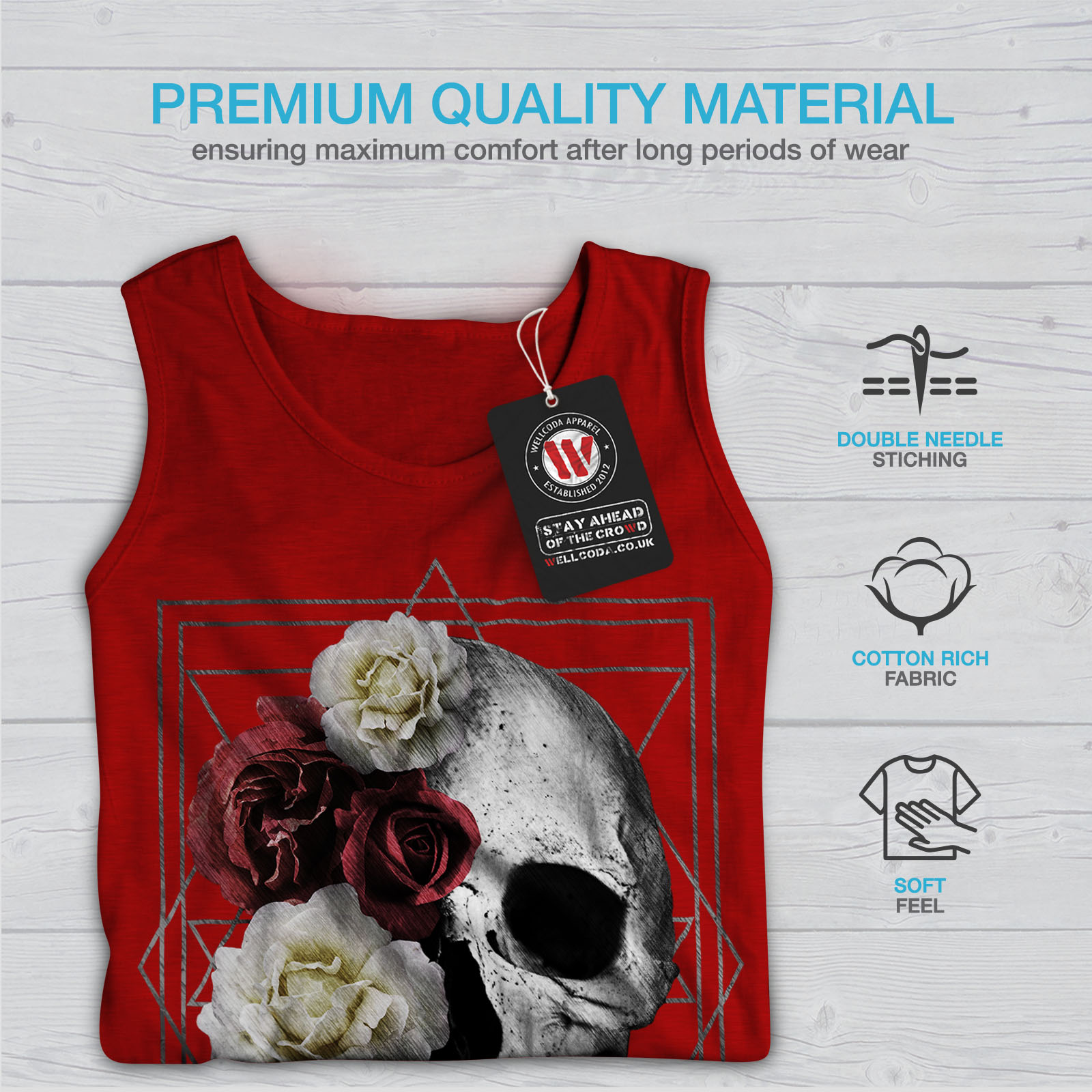 Wellcoda Skull Rose Flowers Mens Tank Top Devil Active Sports Shirt