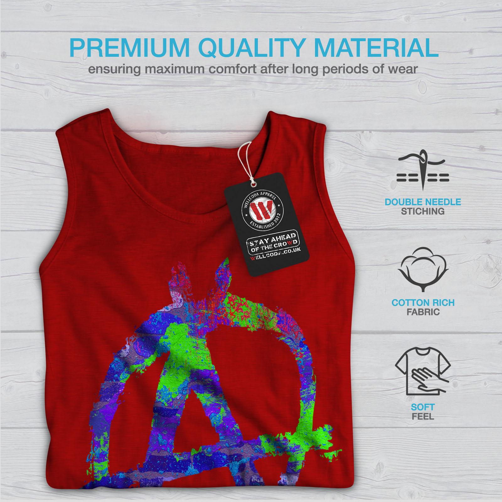 Wellcoda Anarchy Symbol Color Mens Tank Top Graffiti Active Sports Shirt