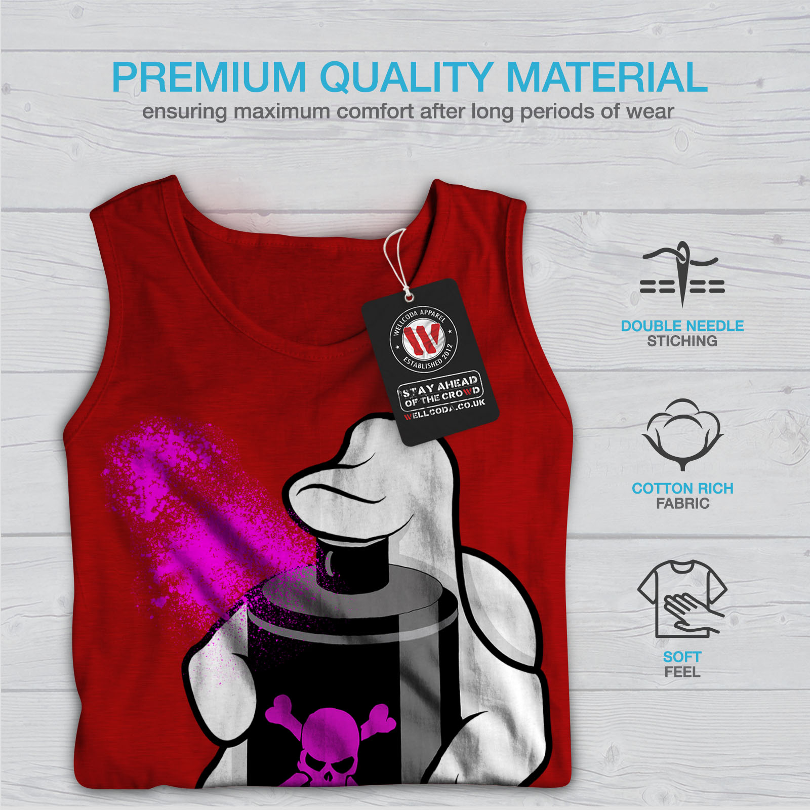 Pink Active Sports Shirt Wellcoda Deadly Graffiti Fashion Mens Tank Top