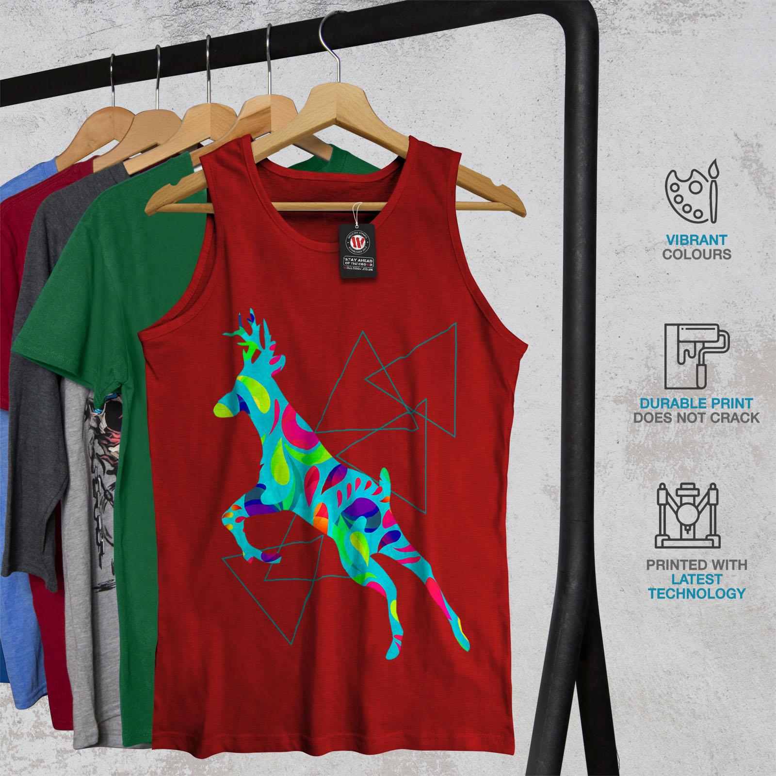 Wellcoda psychédélique Cerf Homme Tank Top Arc-en-ciel Active Sports Shirt