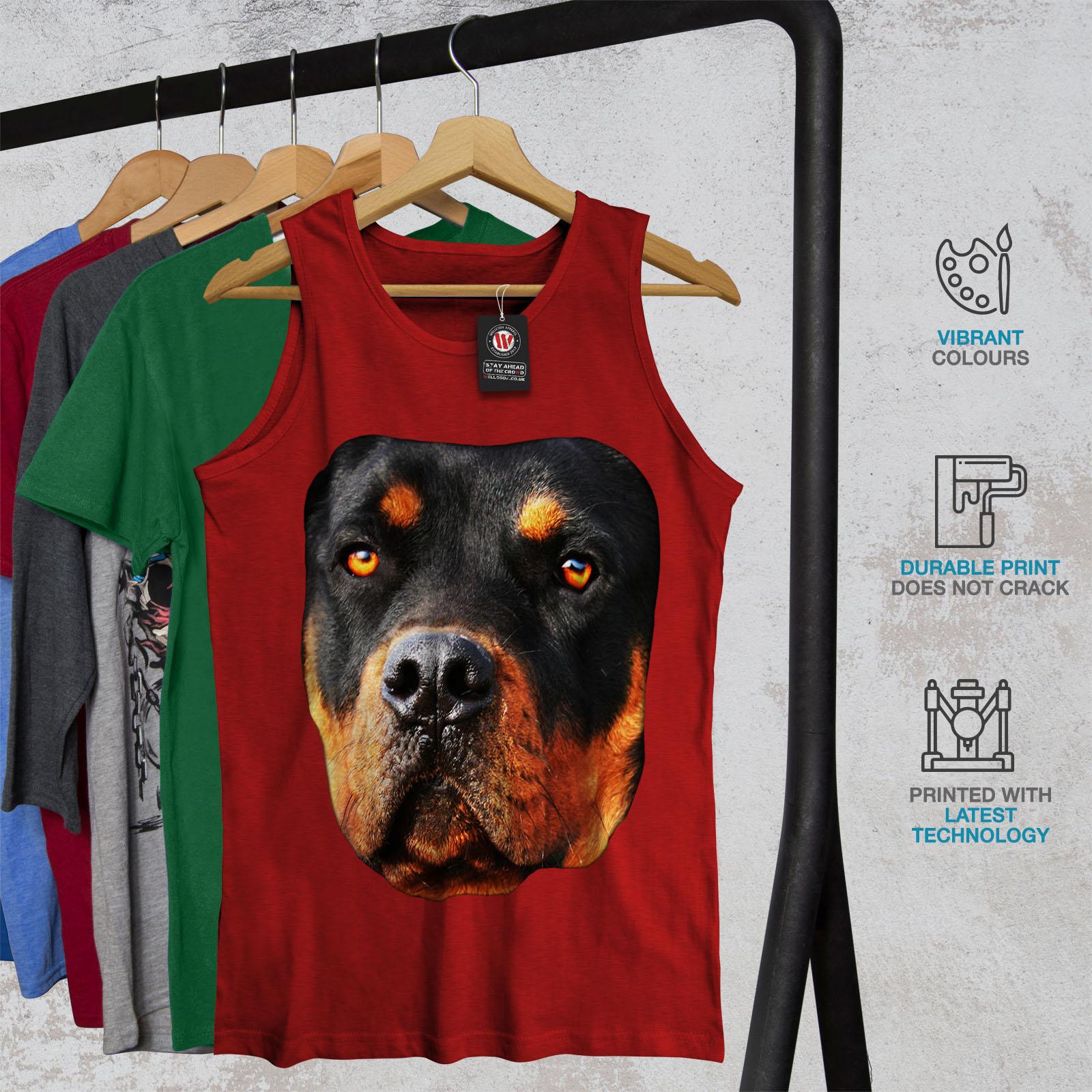 Wellcoda Rottweiler Pup Animal Mens Tank Top Lovely Active Sports Shirt