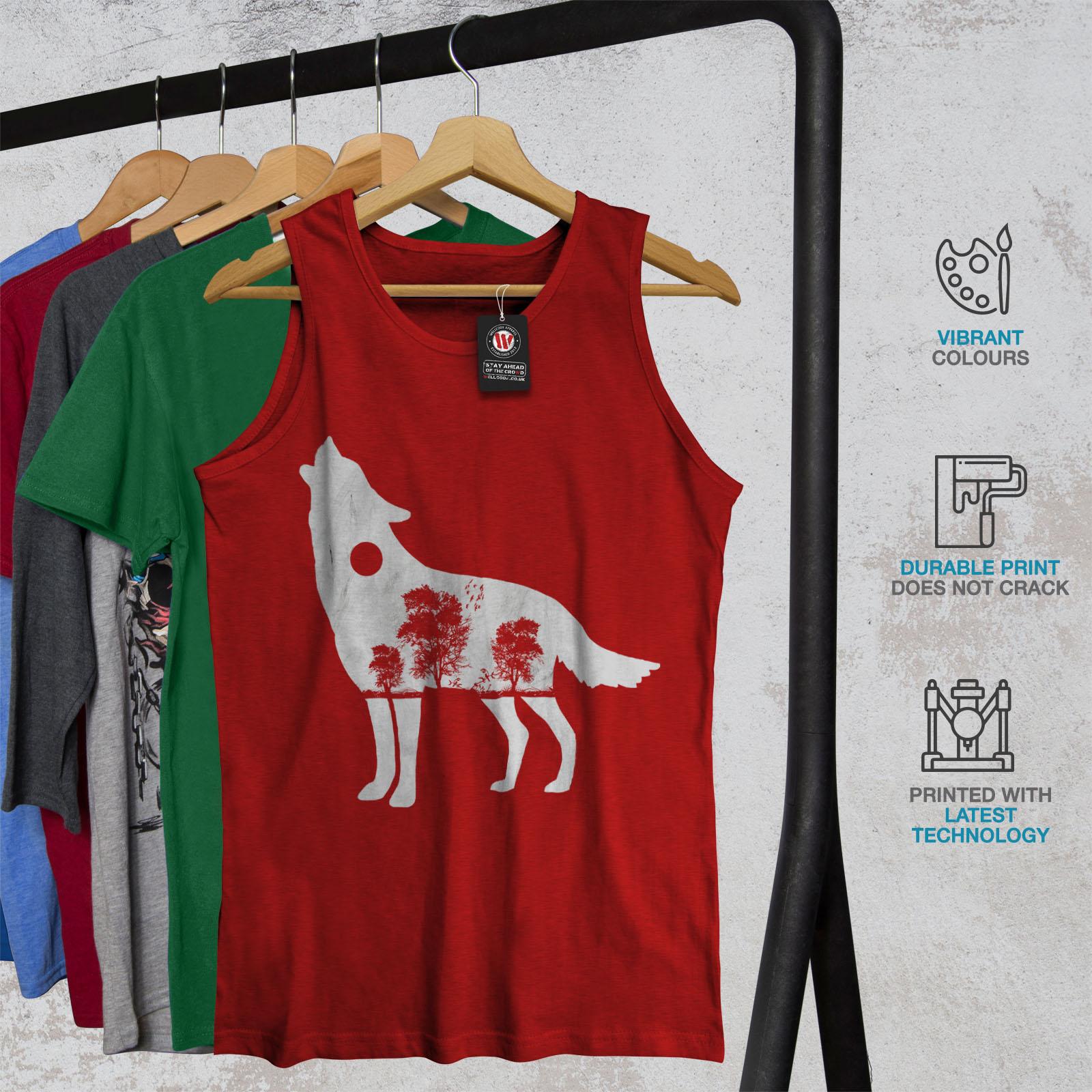Wellcoda-Wolf-Wald-Tier-Herren-Tank-Top-Baum-Active-Sportshirt Indexbild 8
